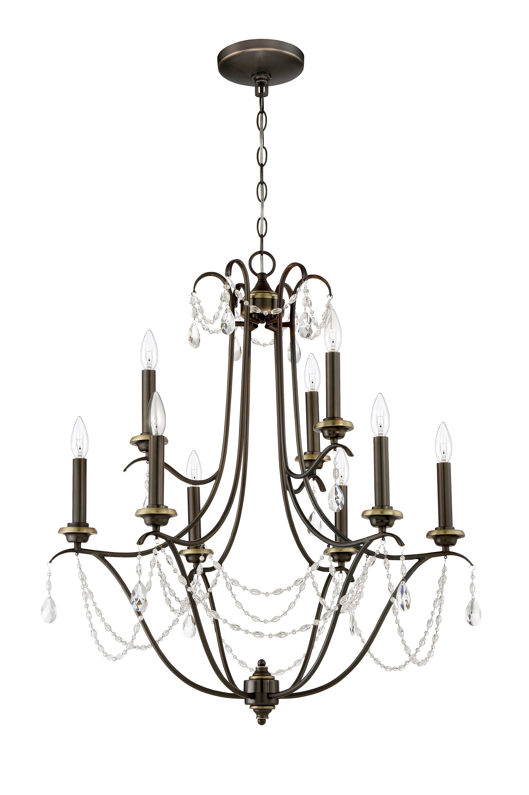 Edelina 9-Light Candle Style Chandelier Finish: Legacy Brass