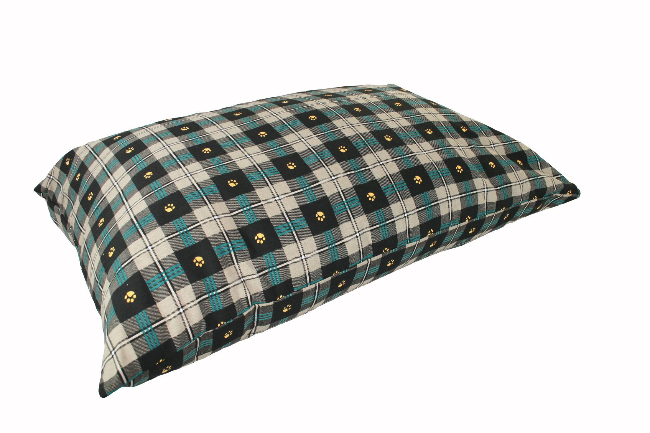 Mulder Rectangular Max Dog Pillow Color: Teal Paw Plaid, Size: Large (40