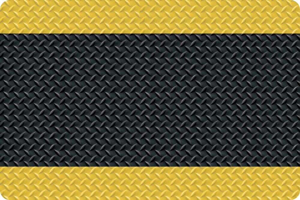 Diamond Foot Anti-Fatigue Shoe Mat Color: Black with Yellow Border, Mat Size: Rectangle 3' x 75'