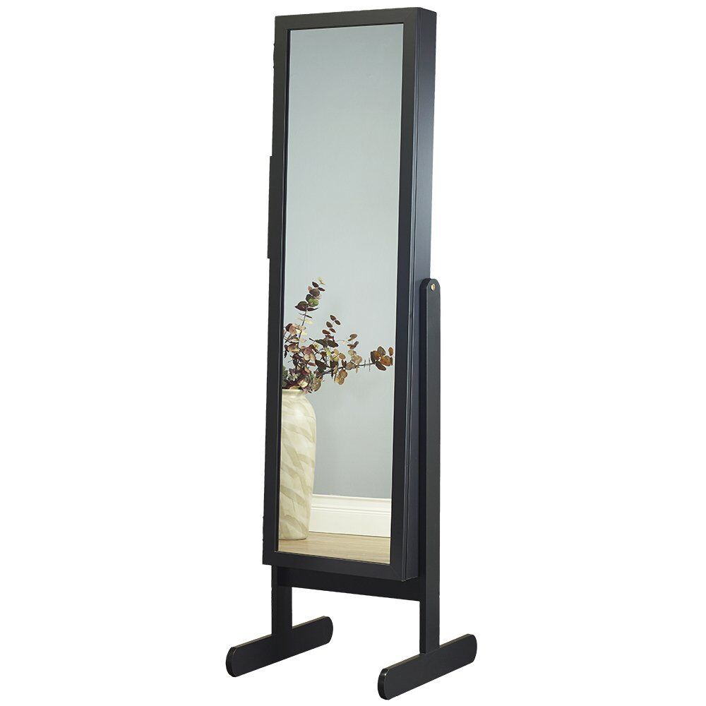 Germaine Makeup Organizational Jewelry Armoire with Mirror Color: Black