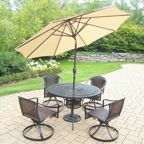 Sunray Tuscany 5 Piece Dining Set Umbrella Color: Beige