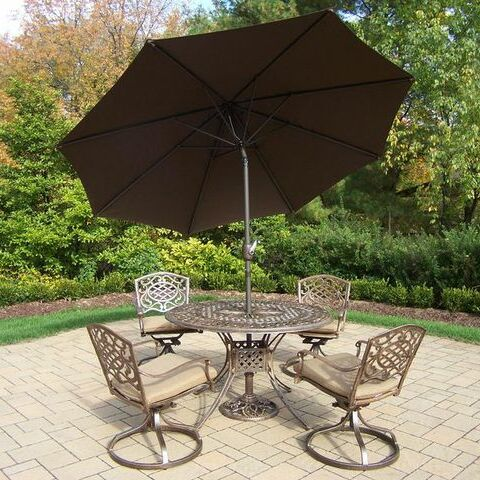 Mississippi 5 Piece Dining Set with Cushions Umbrella Color: Brown, Cushion Color: Sunbrella Spunpoly