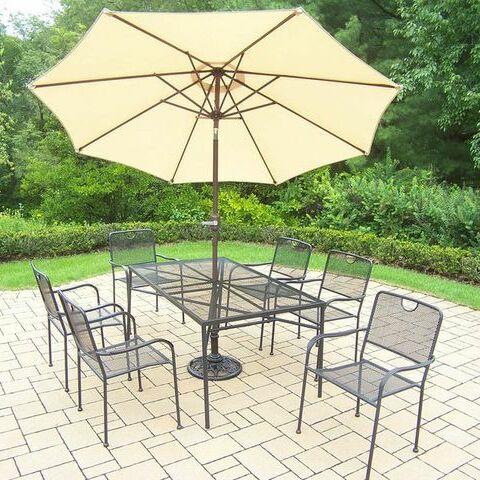 Charleston 7 Piece Dining Set Umbrella Color: Beige