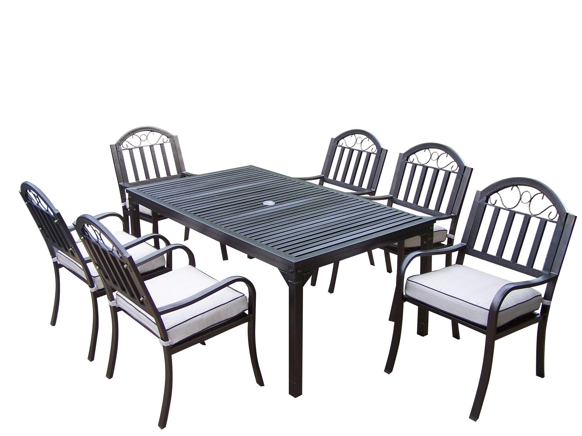 Lisabeth 7 Piece Rectangular Dining Set with Cushions