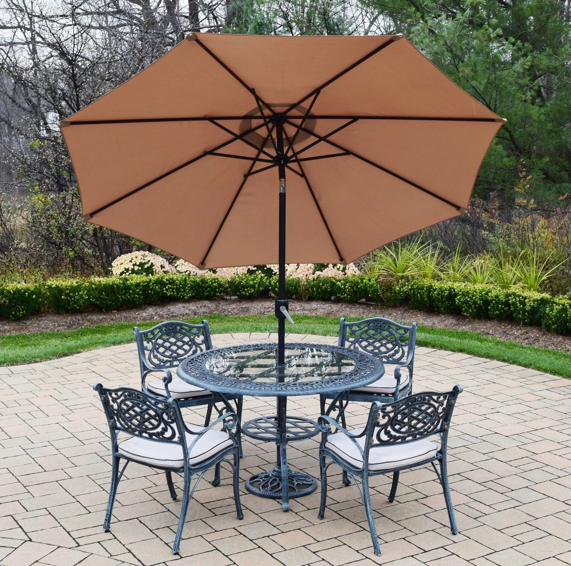 Mississippi 5 Piece Dining Set with Cushions Umbrella Color: Brown, Cushion Fabric: Sunbrella - Tan