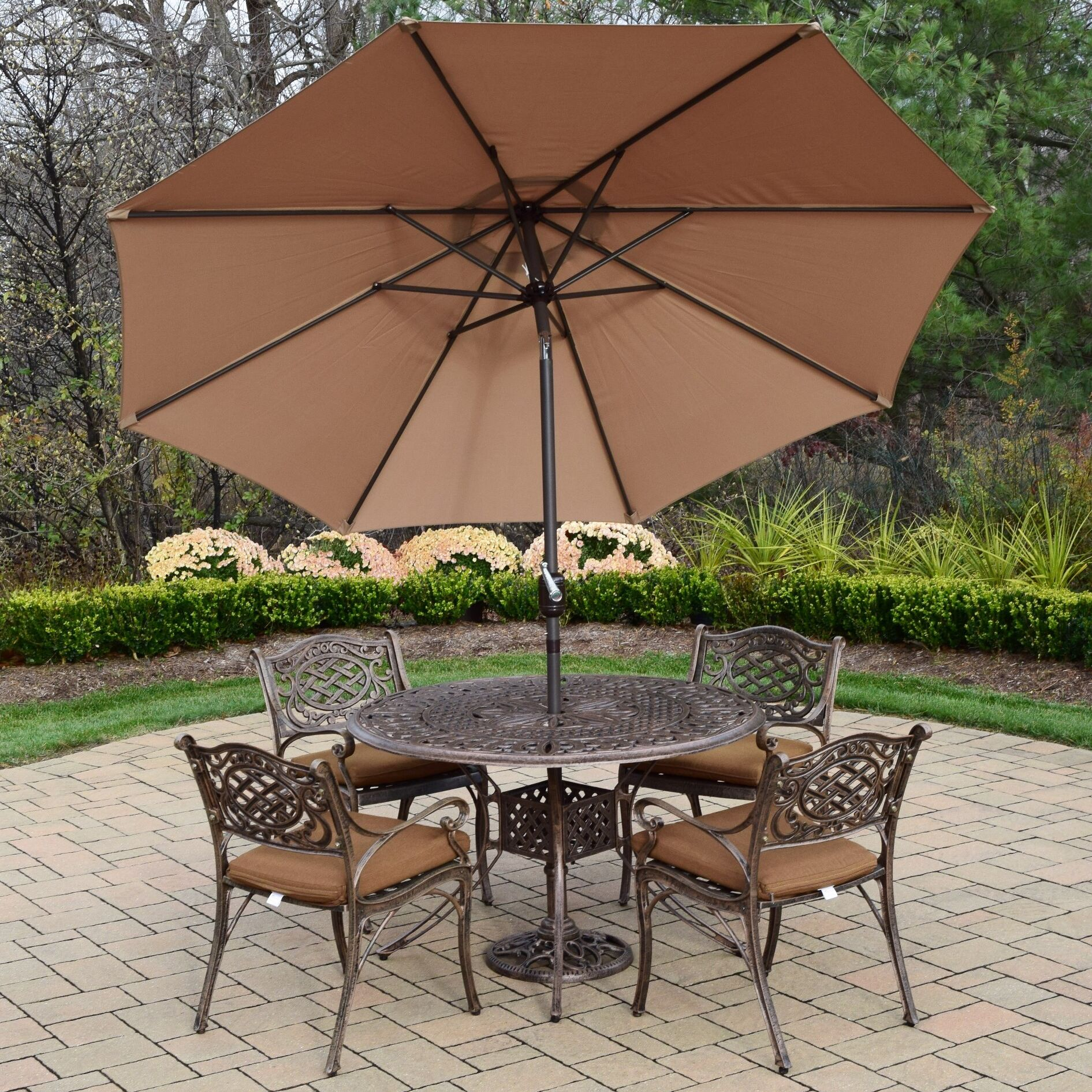 Capitol 5 Piece Dining Set with Cushions Umbrella Color: Champagne, Cushion Fabric: Sunbrella - Tan