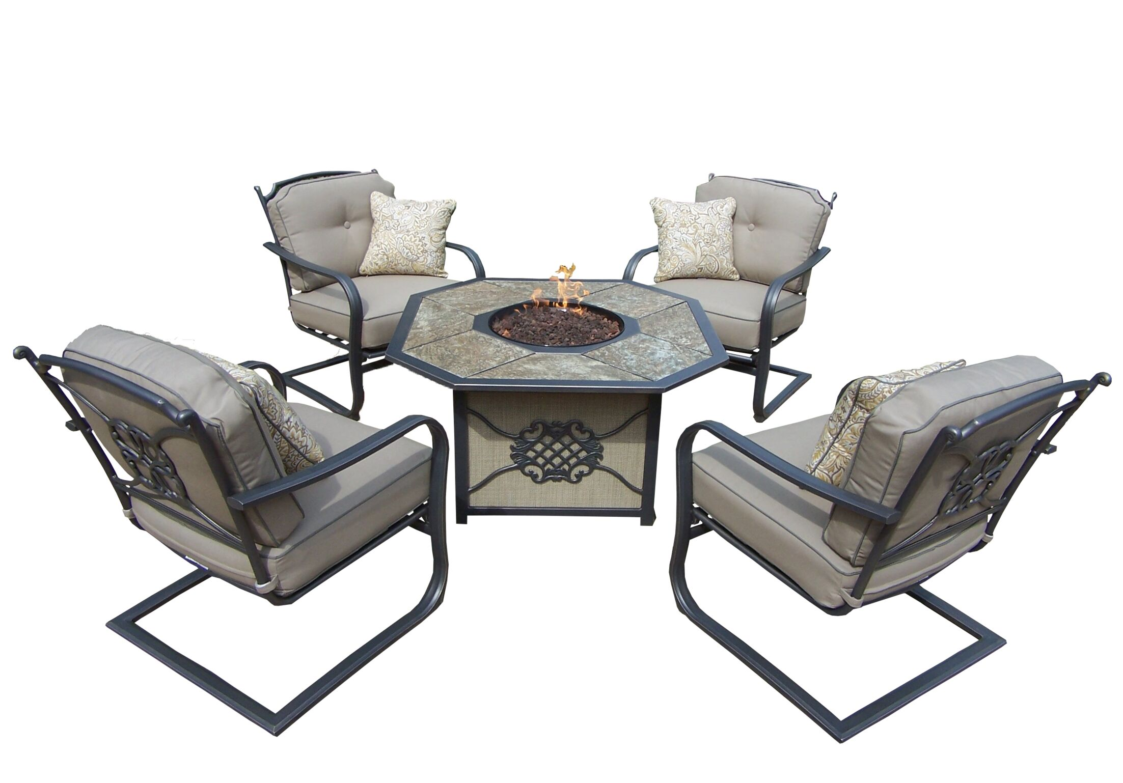 Tradition Fire Pit 5 Piece Sofa Set with Cushions