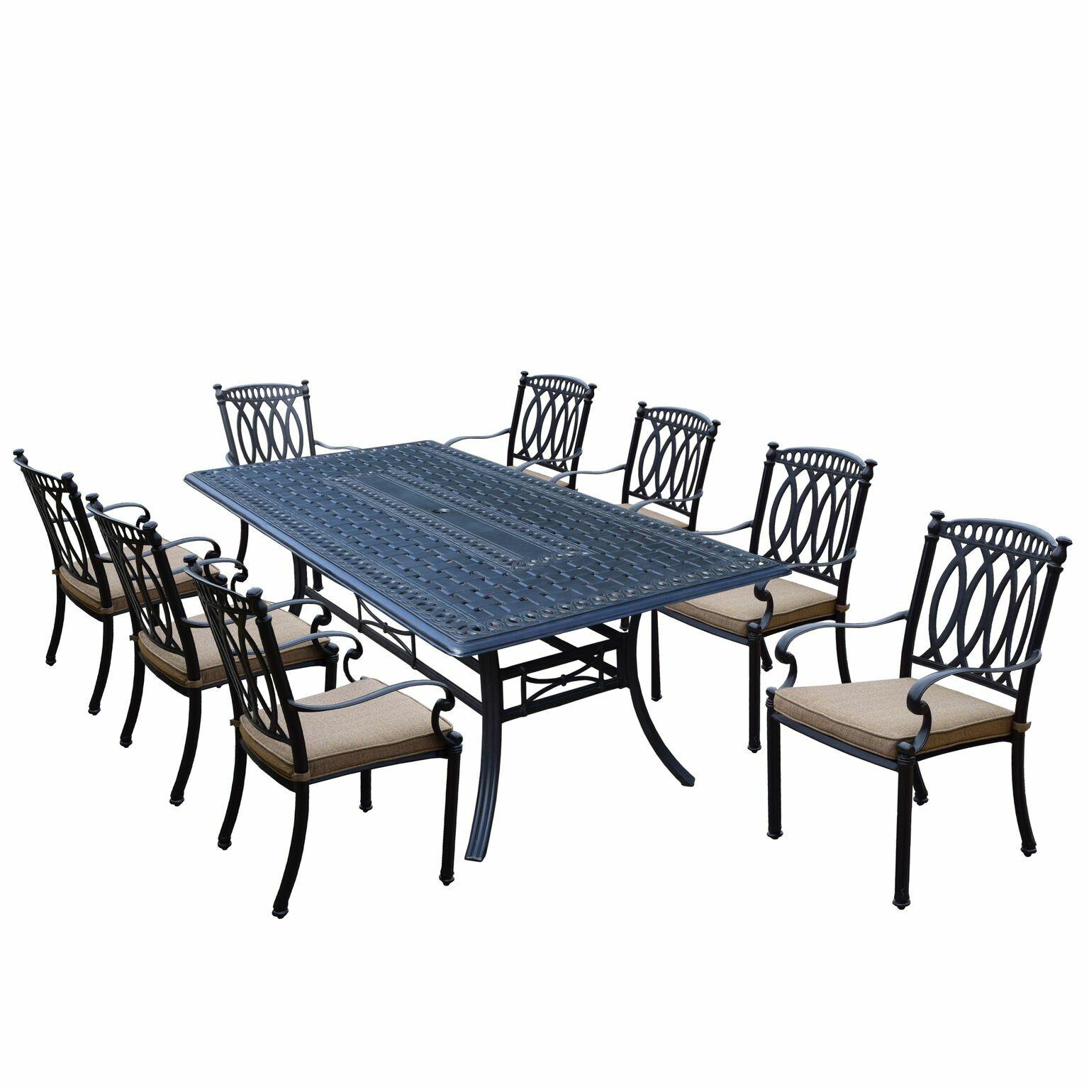 Otsego 9 Piece Aluminum Dining Set with Fabric Cushions