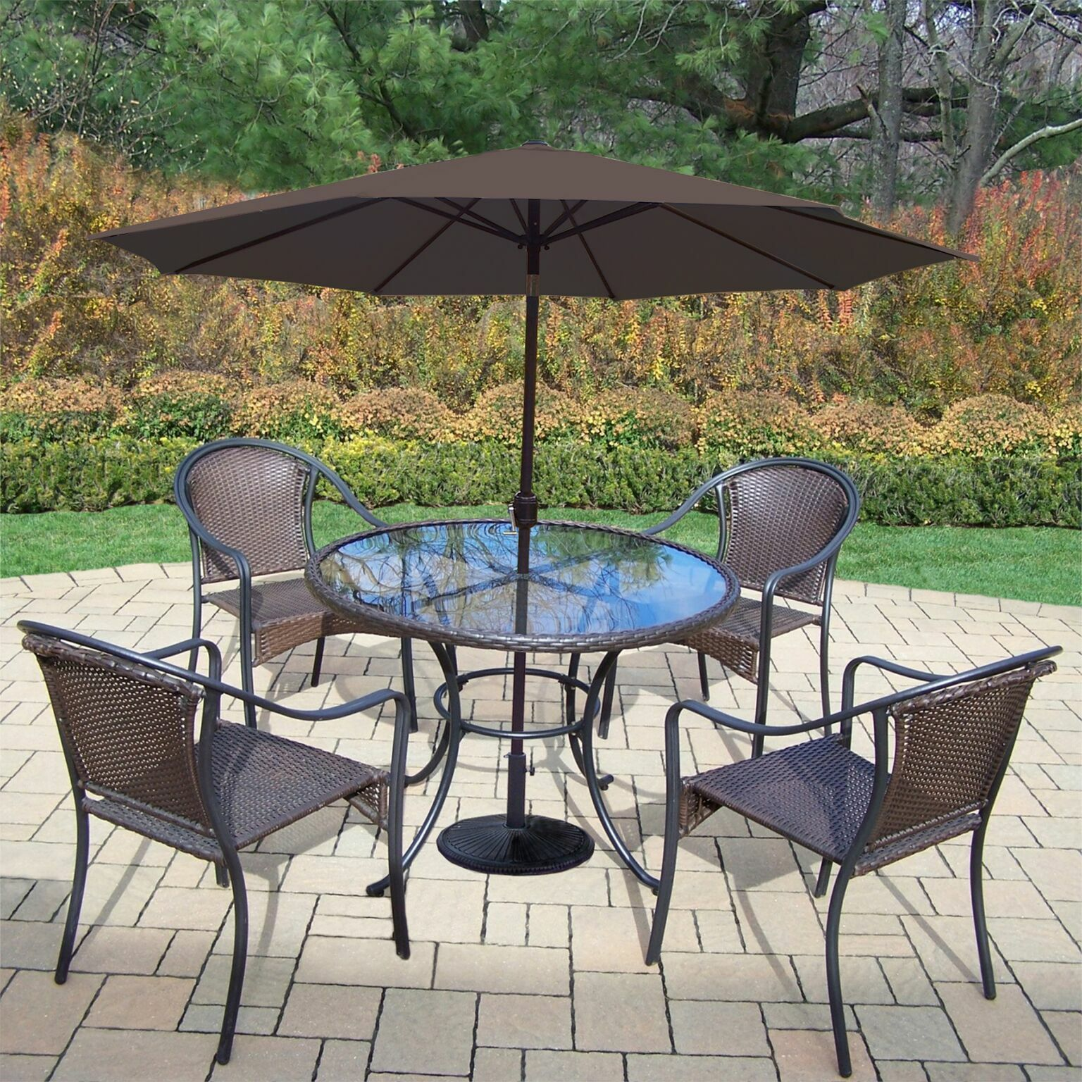Parishville 5 Piece Durable All Weather Resin Wicker Dining Set with Umbrella Umbrella Color: Brown