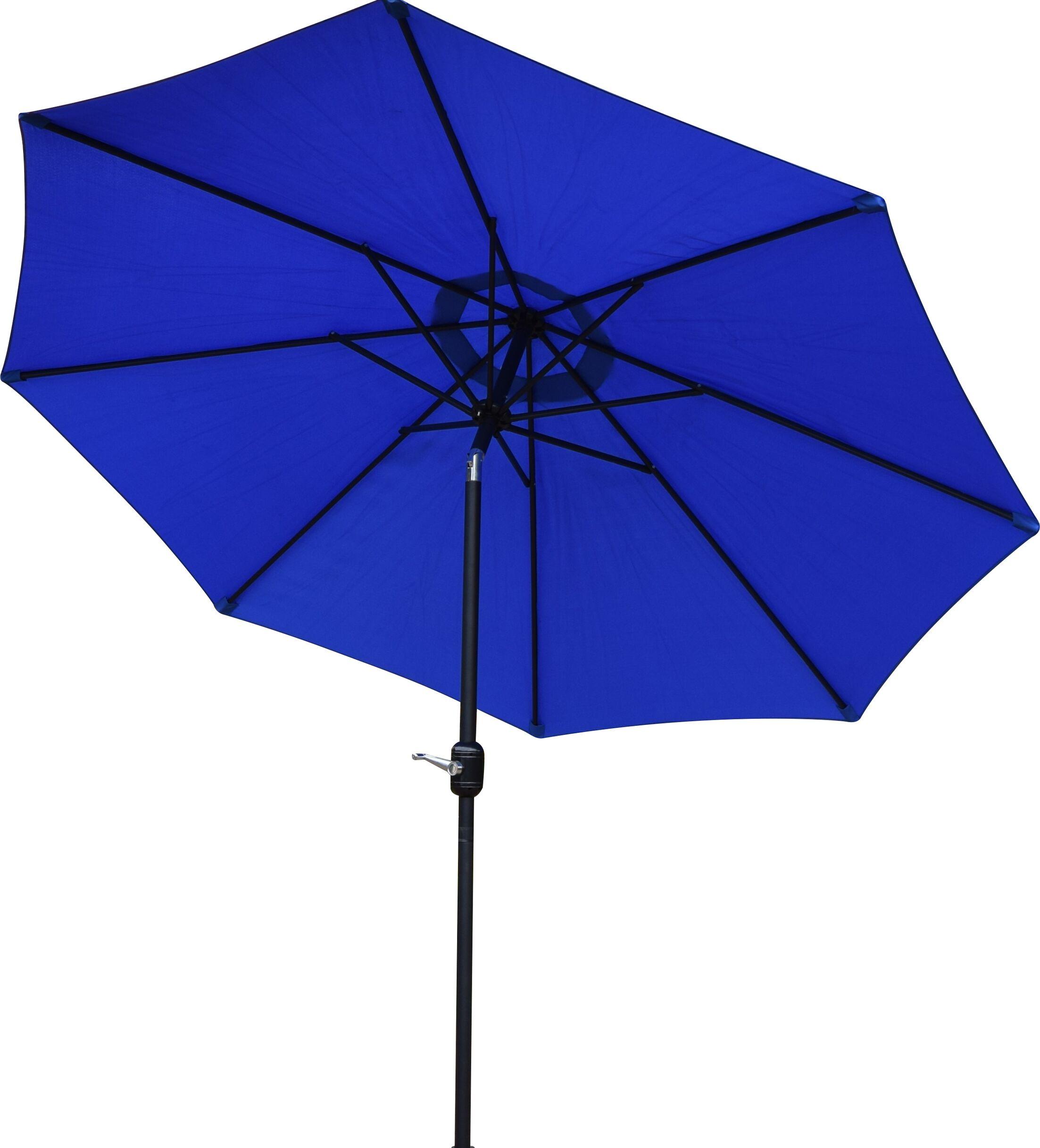 9' Market Umbrella Base Finish: Black, Color: Blue