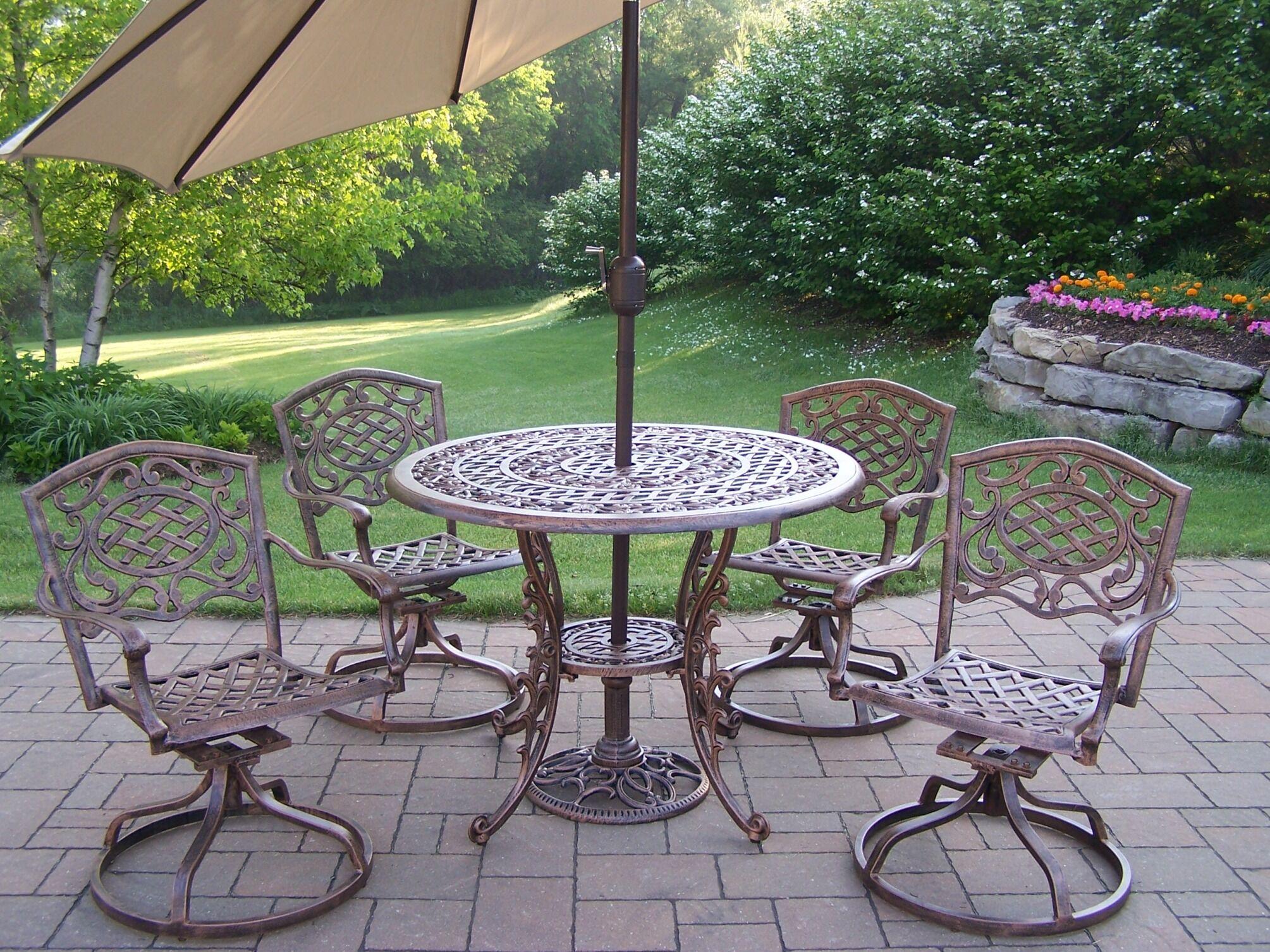 Mississippi Dining Set with Umbrella Umbrella Color: Beige