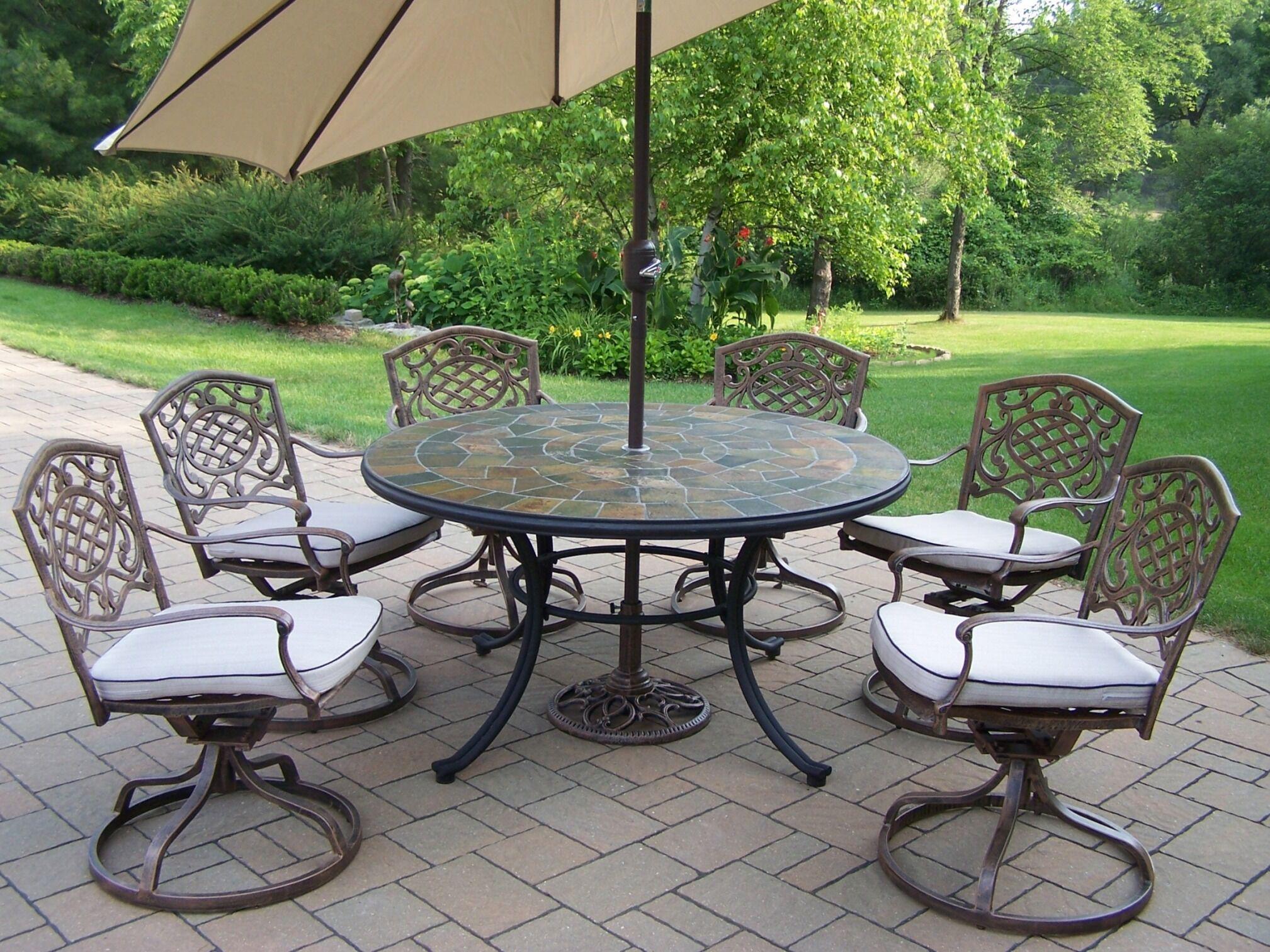 Stone Art Dining Set with Cushions and Umbrella Umbrella Color: Beige