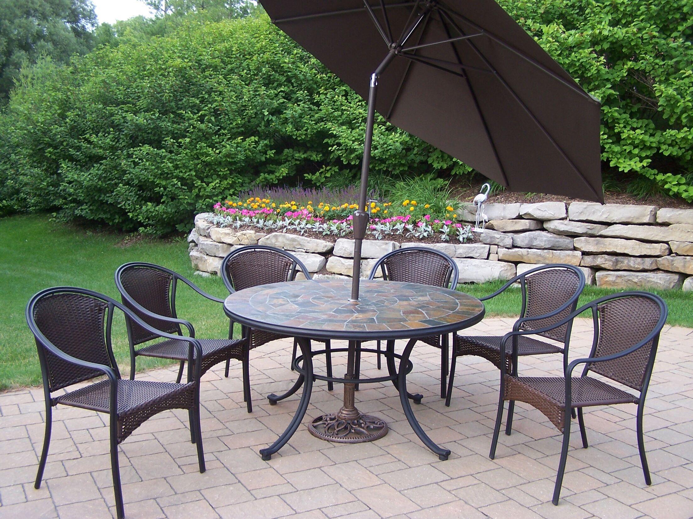 Tuscany Stone Art Dining Set with Umbrella Umbrella Color: Brown