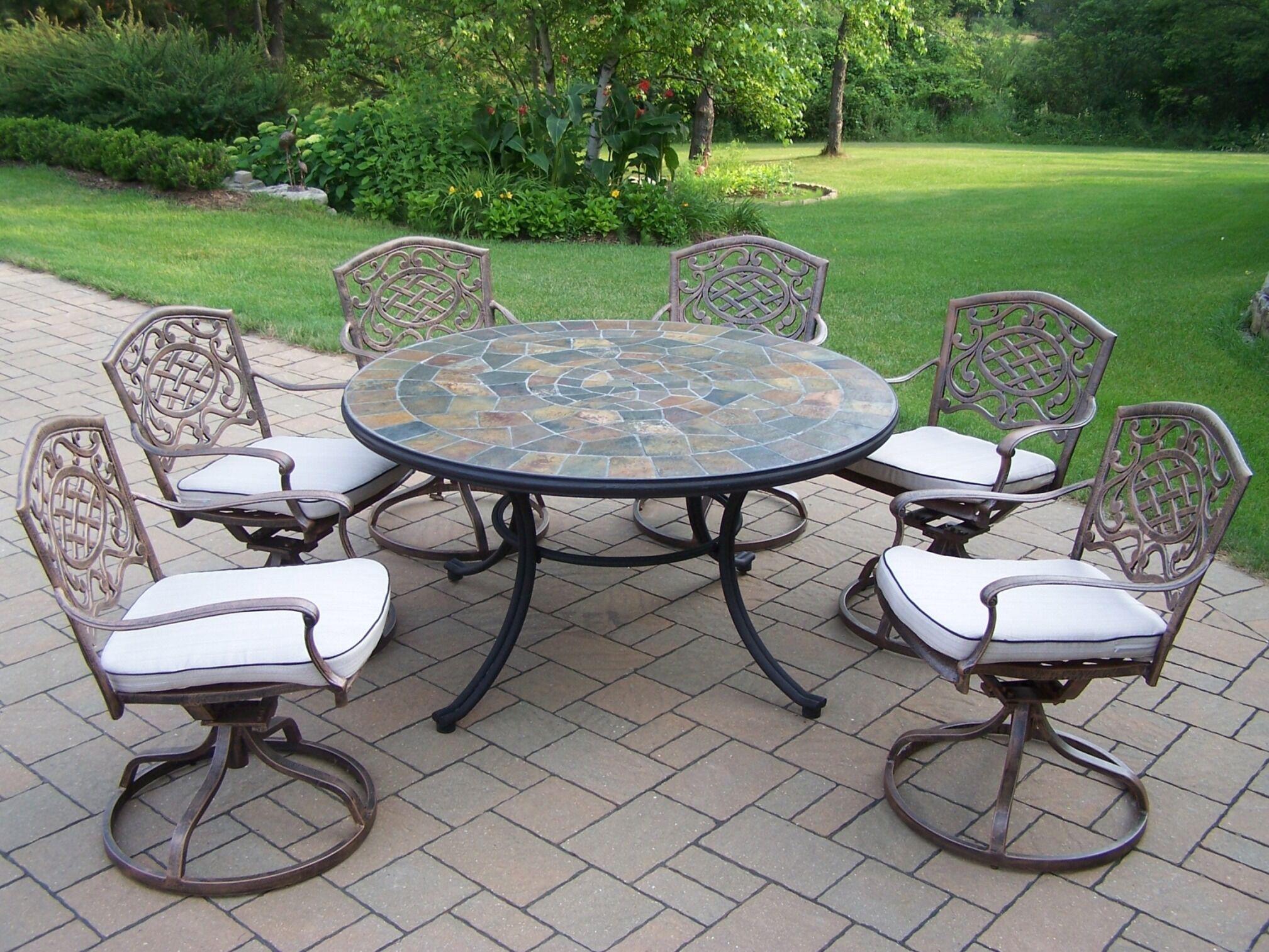 Tuscany Stone Art Swivel Chair Dining Set