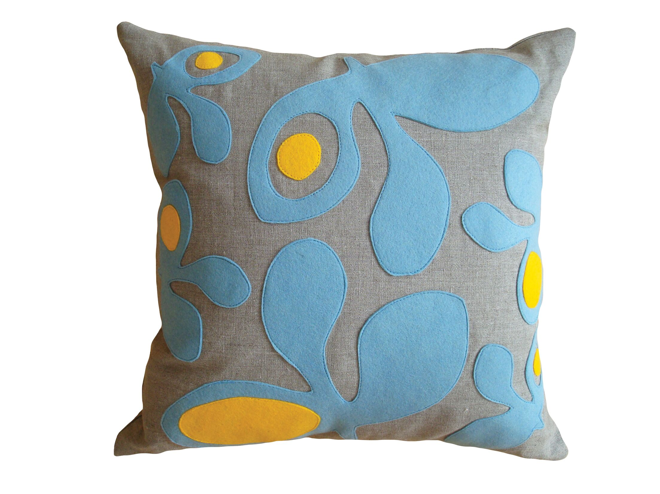 Applique Pods Linen Throw Pillow Color: Oatmeal Linen Fabric in Denim/Egg