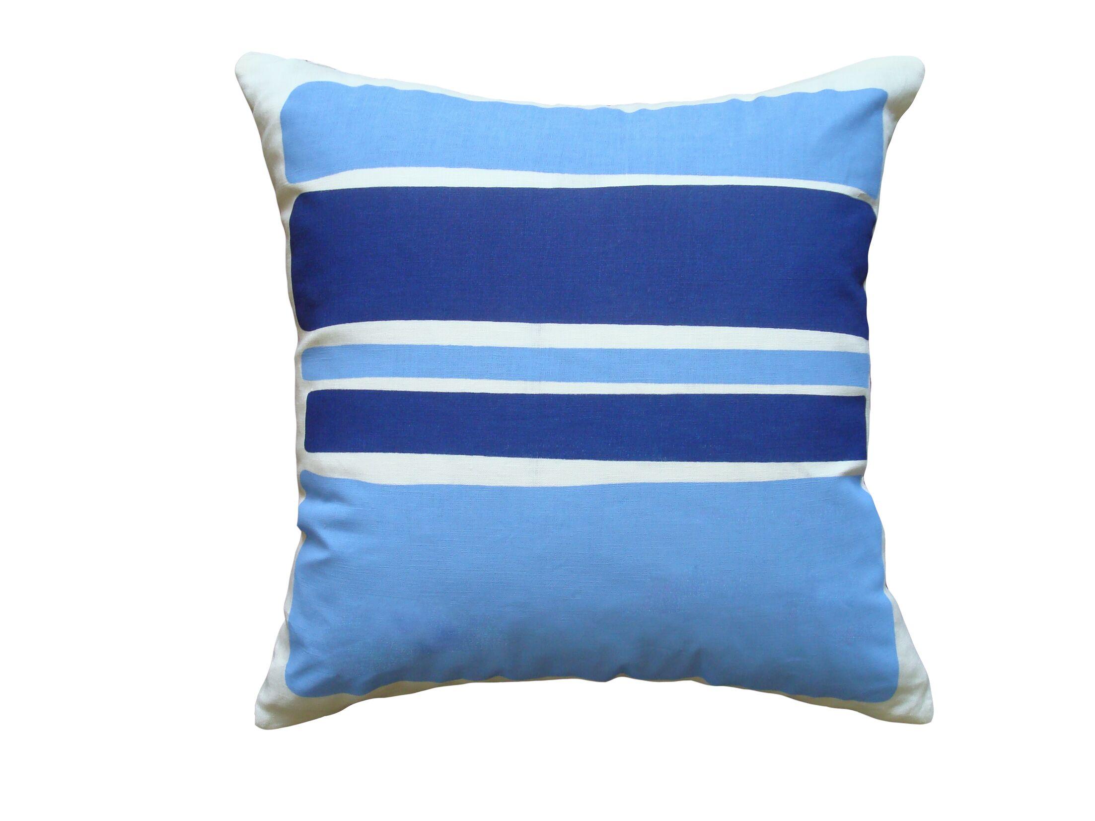 Block Linen Throw Pillow Color: Cobalt
