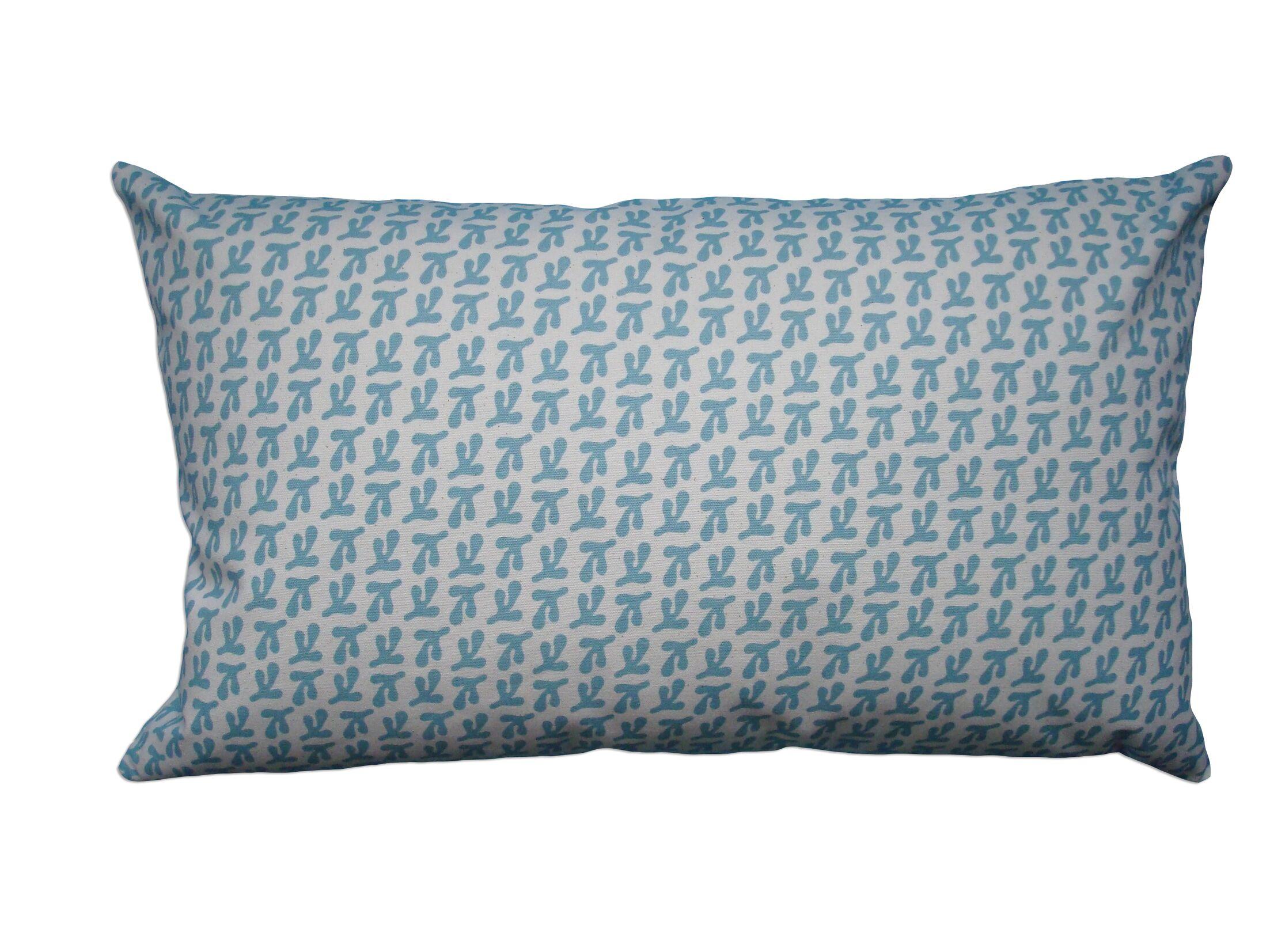 Hand Printed Birds Feet Cotton Throw Pillow Size: 14