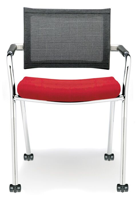 Features: -Mesh backrest to allow for ventilation .-Free rolling carpet castors.-Upholstered seat.-Product Type: Side or Guest Chair.-Style (Old): Modern.-Style: Modern & Contemporary.-Finish: Black.-Finish: Red.-Frame Material: Metal -Frame Material ...