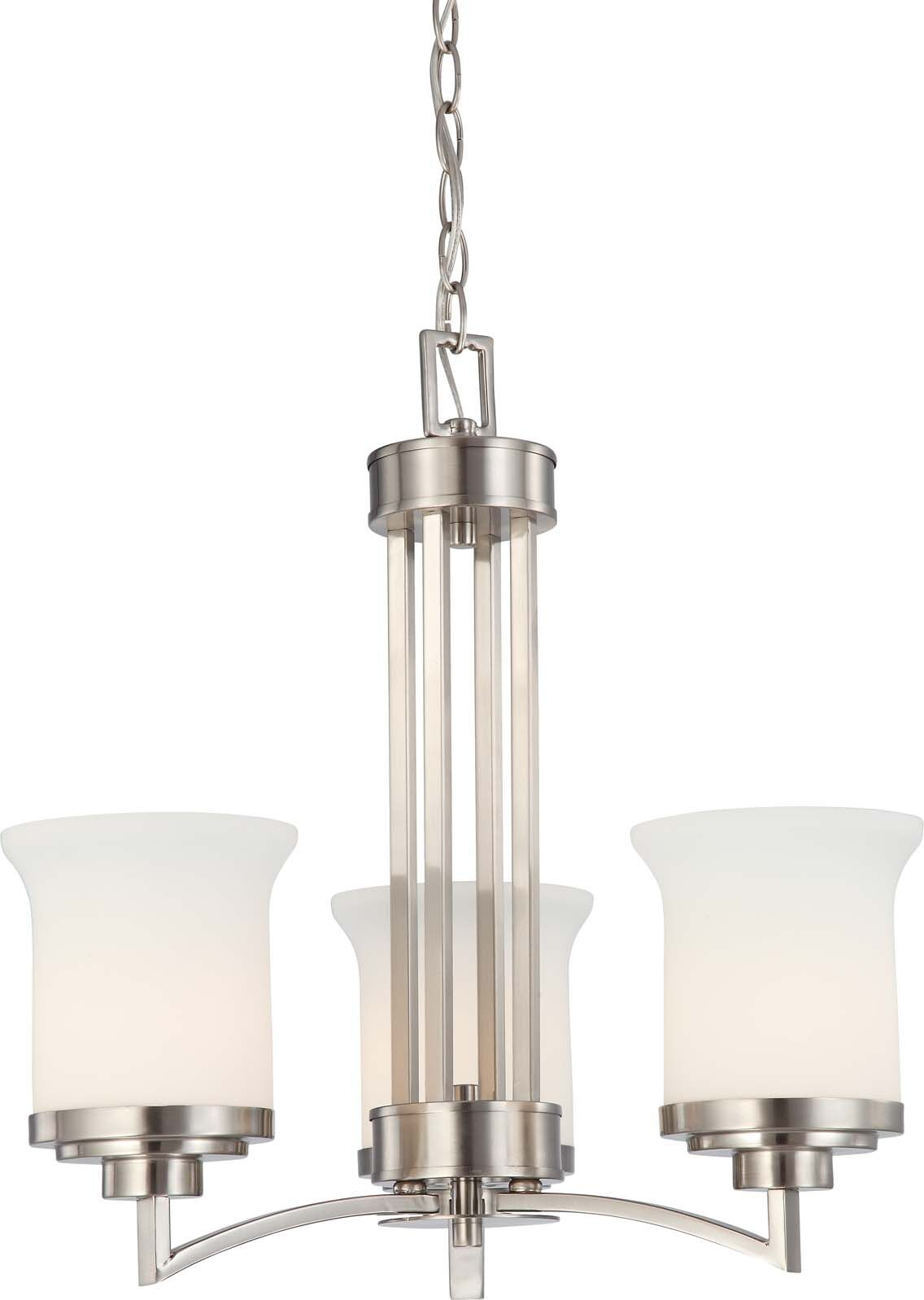 Craddock 3-Light Shaded Chandelier Finish / Shade Type: Brushed Nickel / Satin White