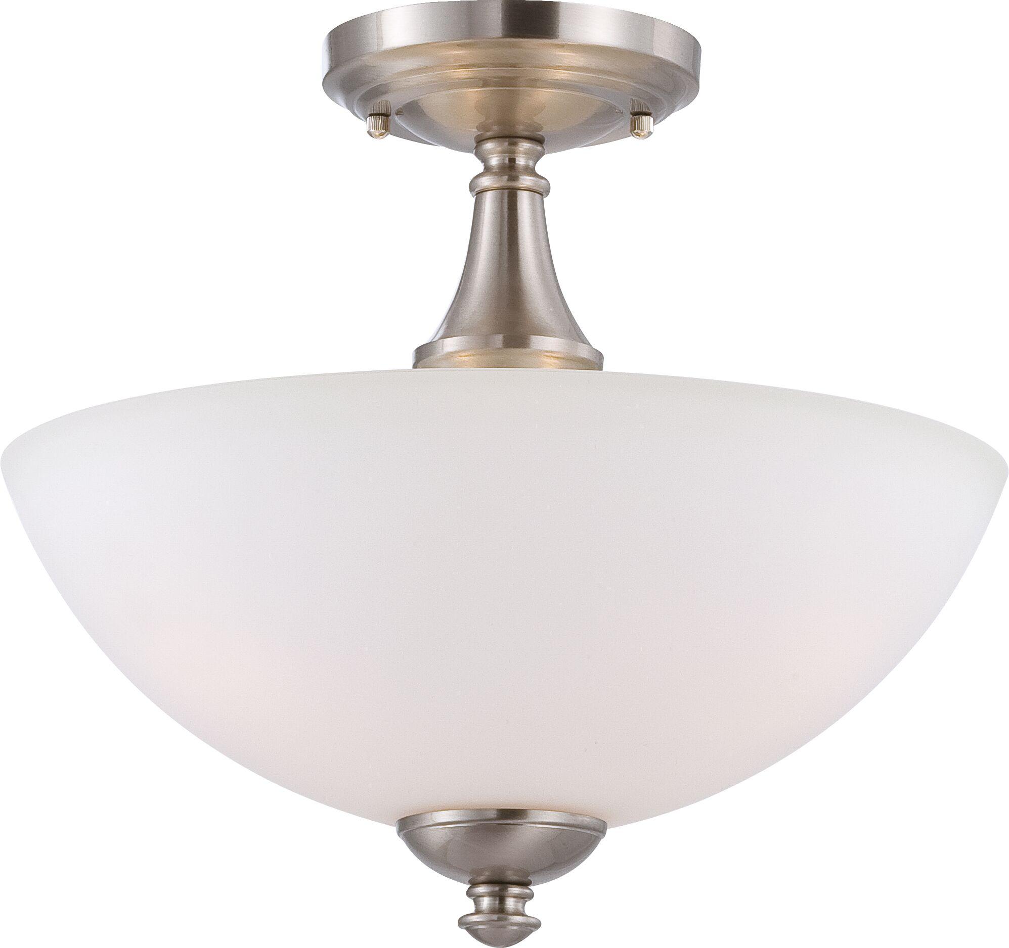Rockford 3-Light Semi Flush Mount Color: Brushed Nickel, Bulb Type: T2 Mini Spiral