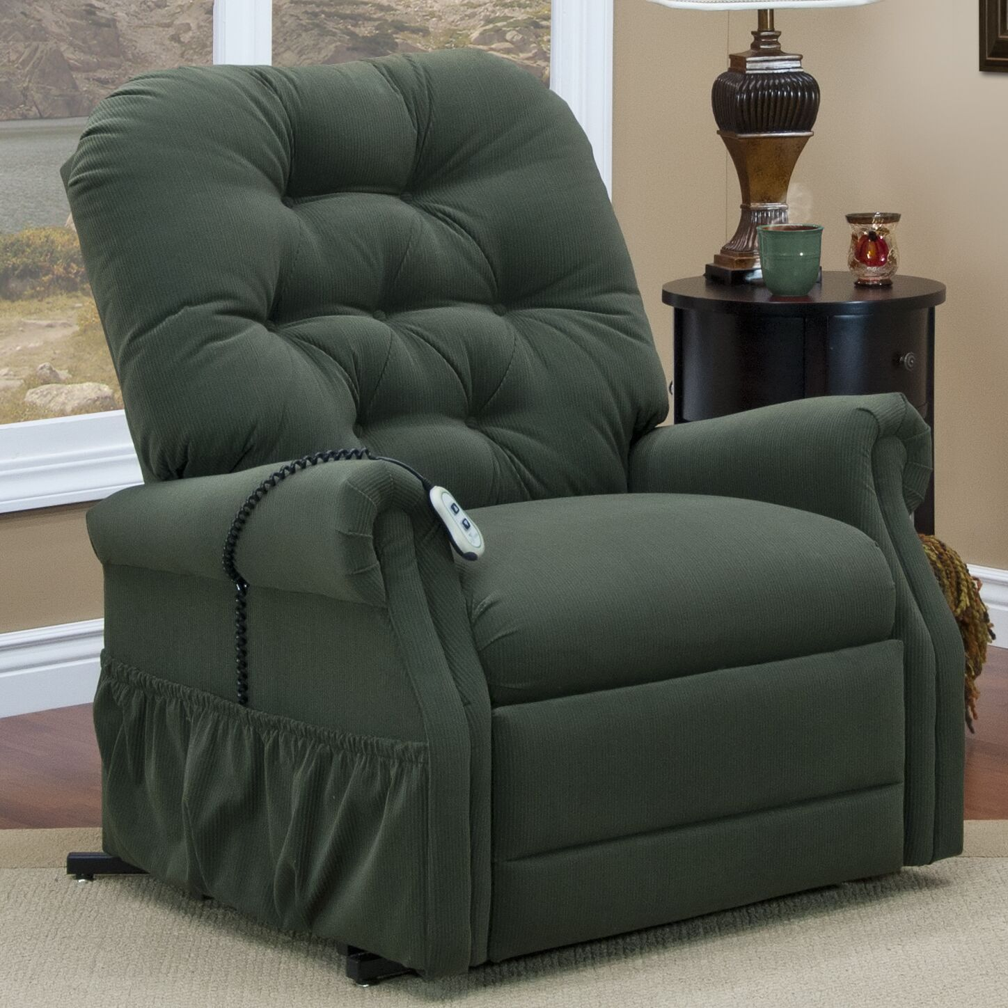 35 Series Power Lift Assist Recliner Moveable Infrared Heat: Yes, Vibration and Heat: 4 Vib / Heat, Upholstery: Aaron - Hunter