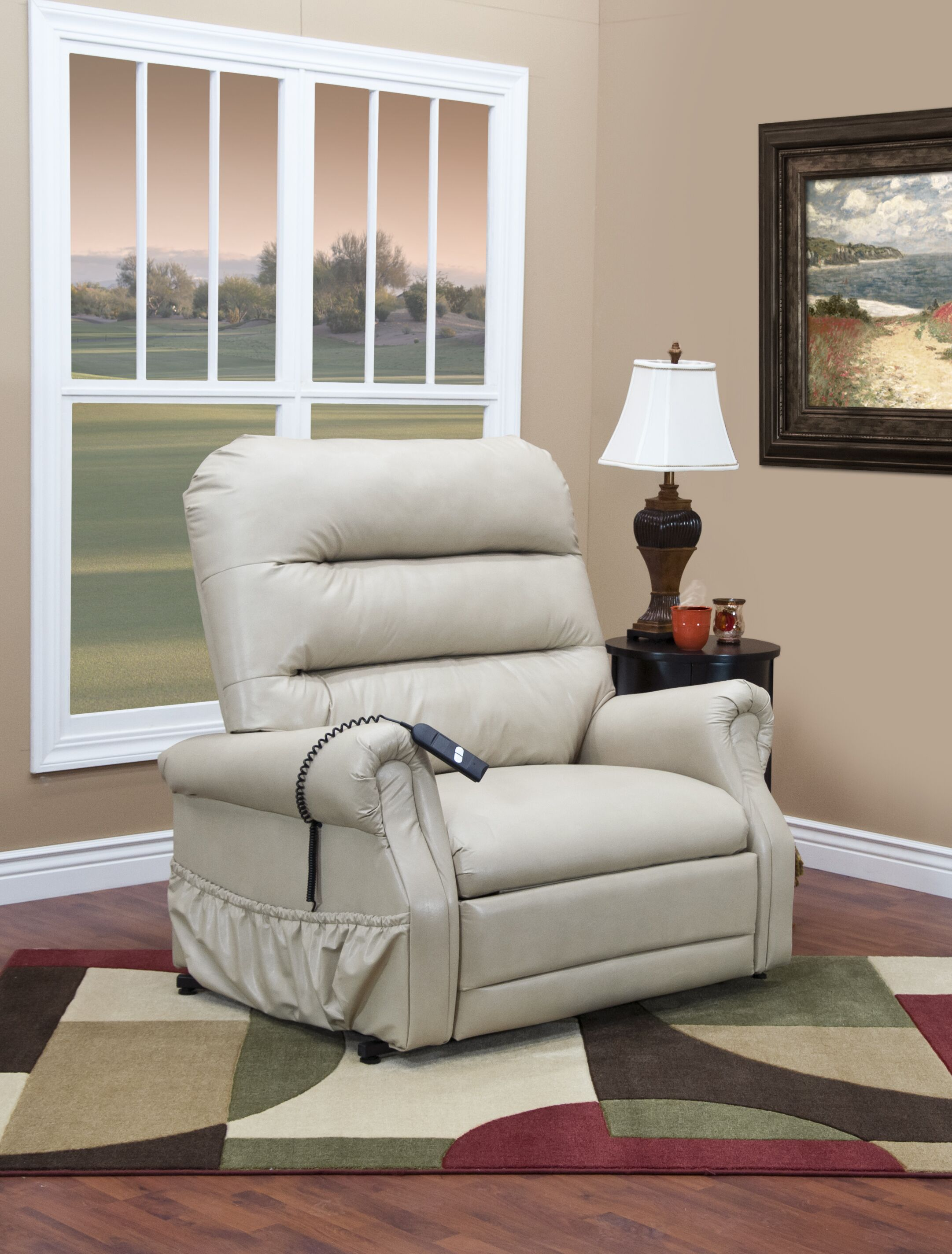 36 Series Power Lift Assist Recliner Upholstery: Bella Crypton - Storm, Moveable Infrared Heat: No, Vibration and Heat: None