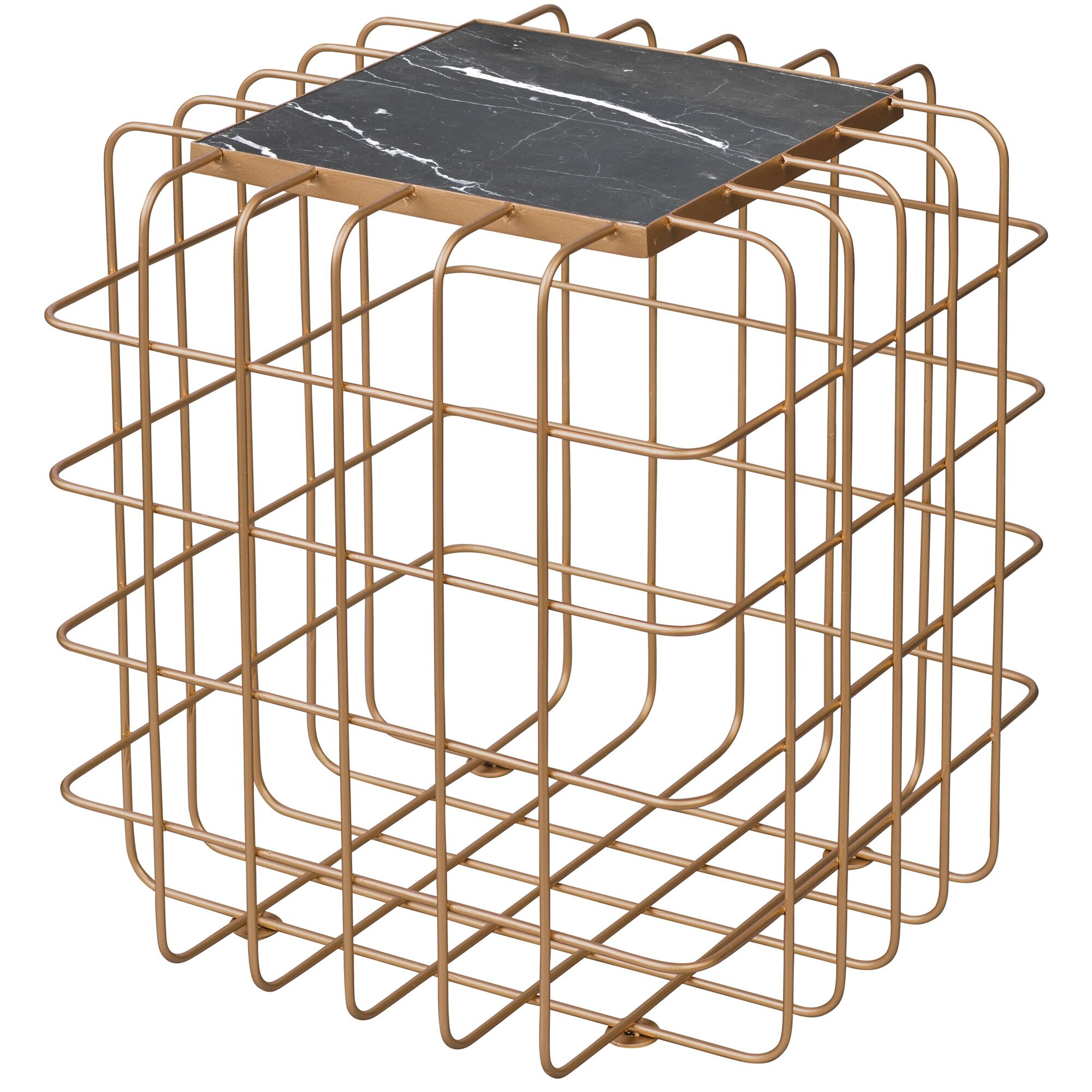 Grid End Table Table Top Color: Black, Table Base Color: Aged Gold