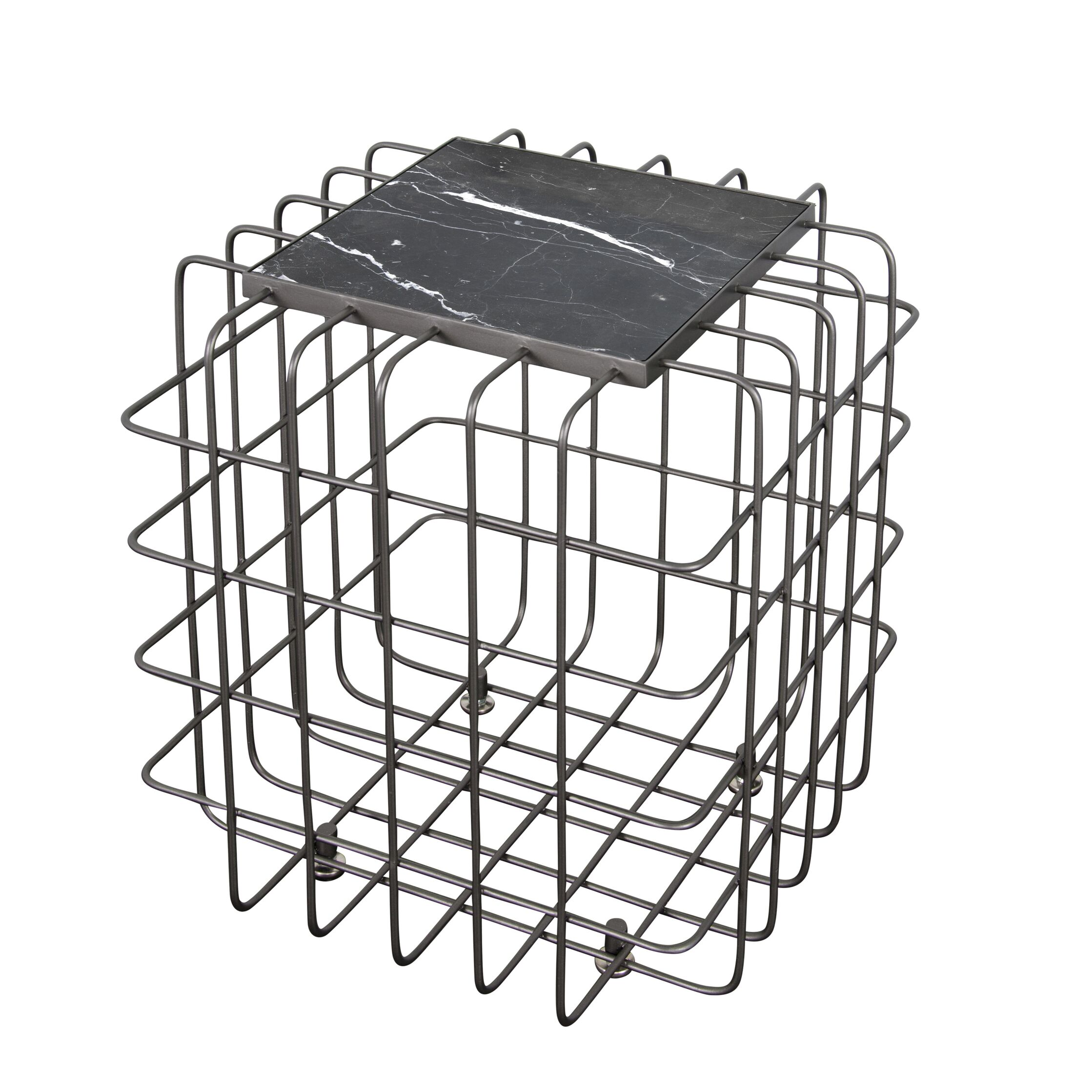 Grid End Table Table Top Color: Black, Table Base Color: Rustic Bronze