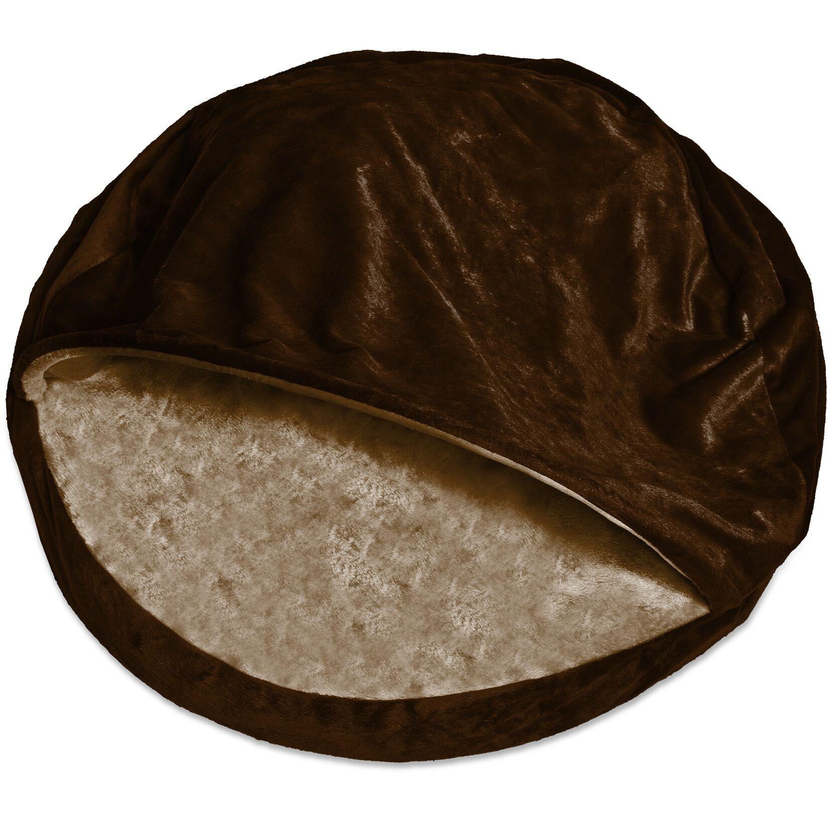 Charlotte Microvelvet Snuggly Dog Cave Bed Hooded Color: Espresso, Size: Large (35