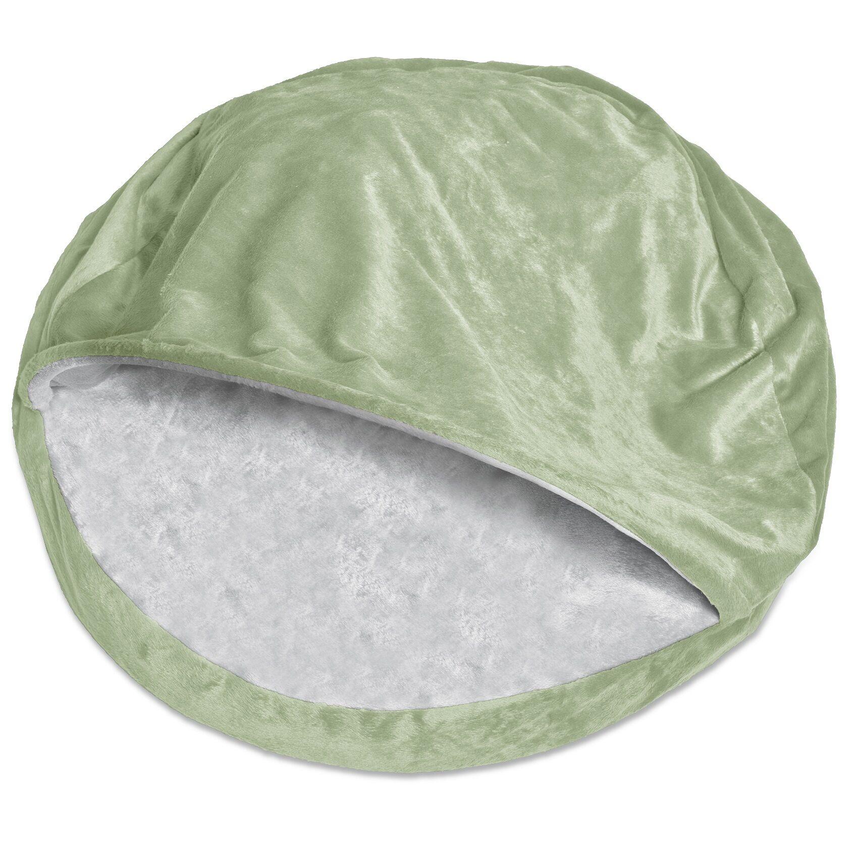 Charlotte Microvelvet Snuggly Dog Cave Bed Hooded Color: Sage, Size: Large (35