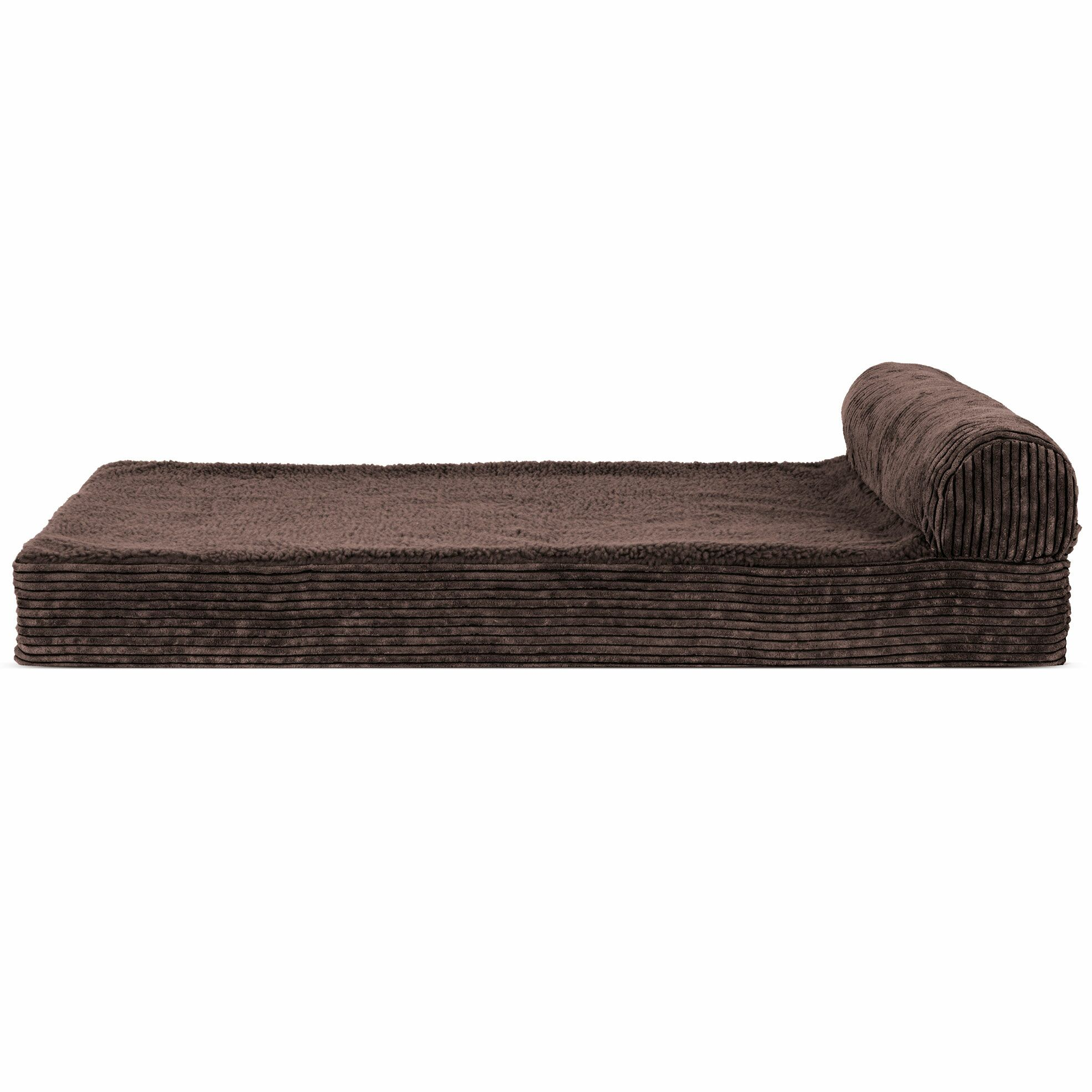 Arvin Faux Fleece and Corduroy Dog Sofa Color: Dark Espresso, Size: Large ( 36