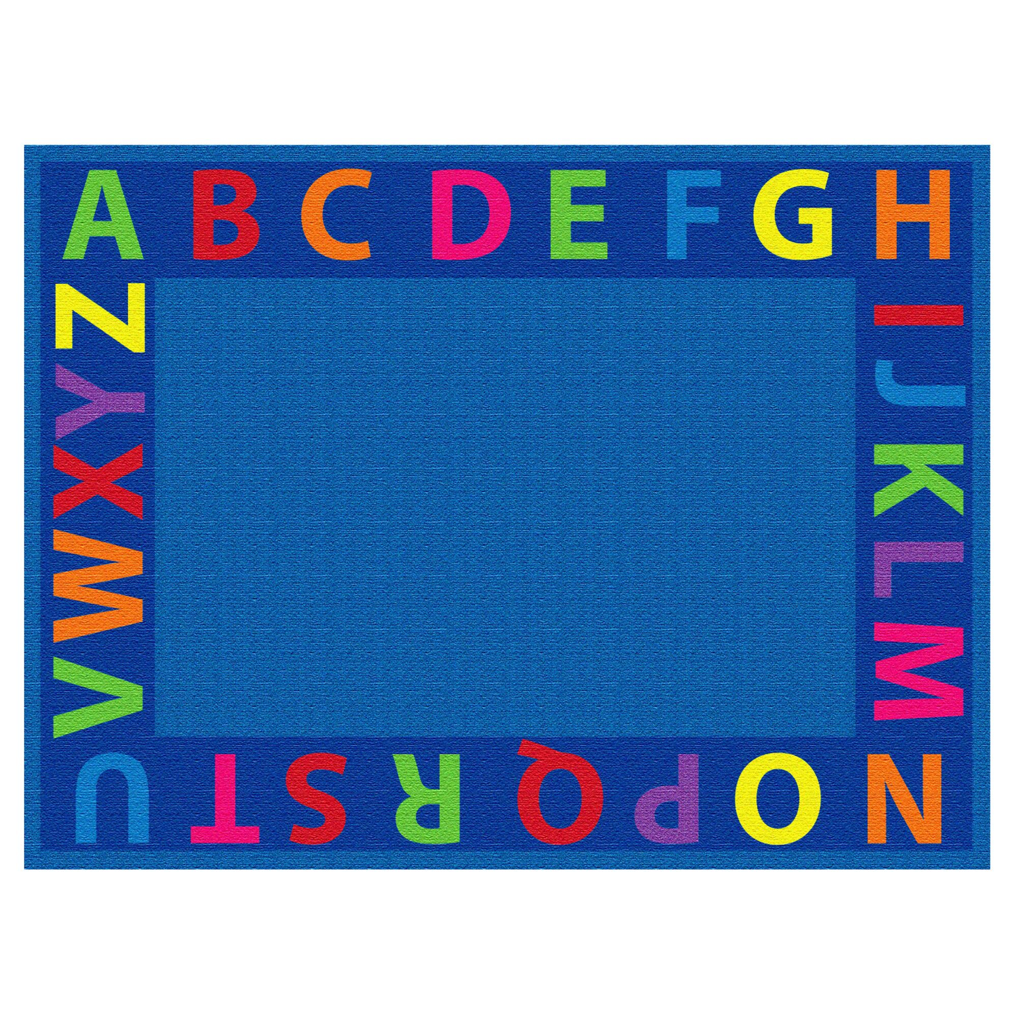 A-Z Circle Time Seating Blue Area Rug Size: 9' x 12'