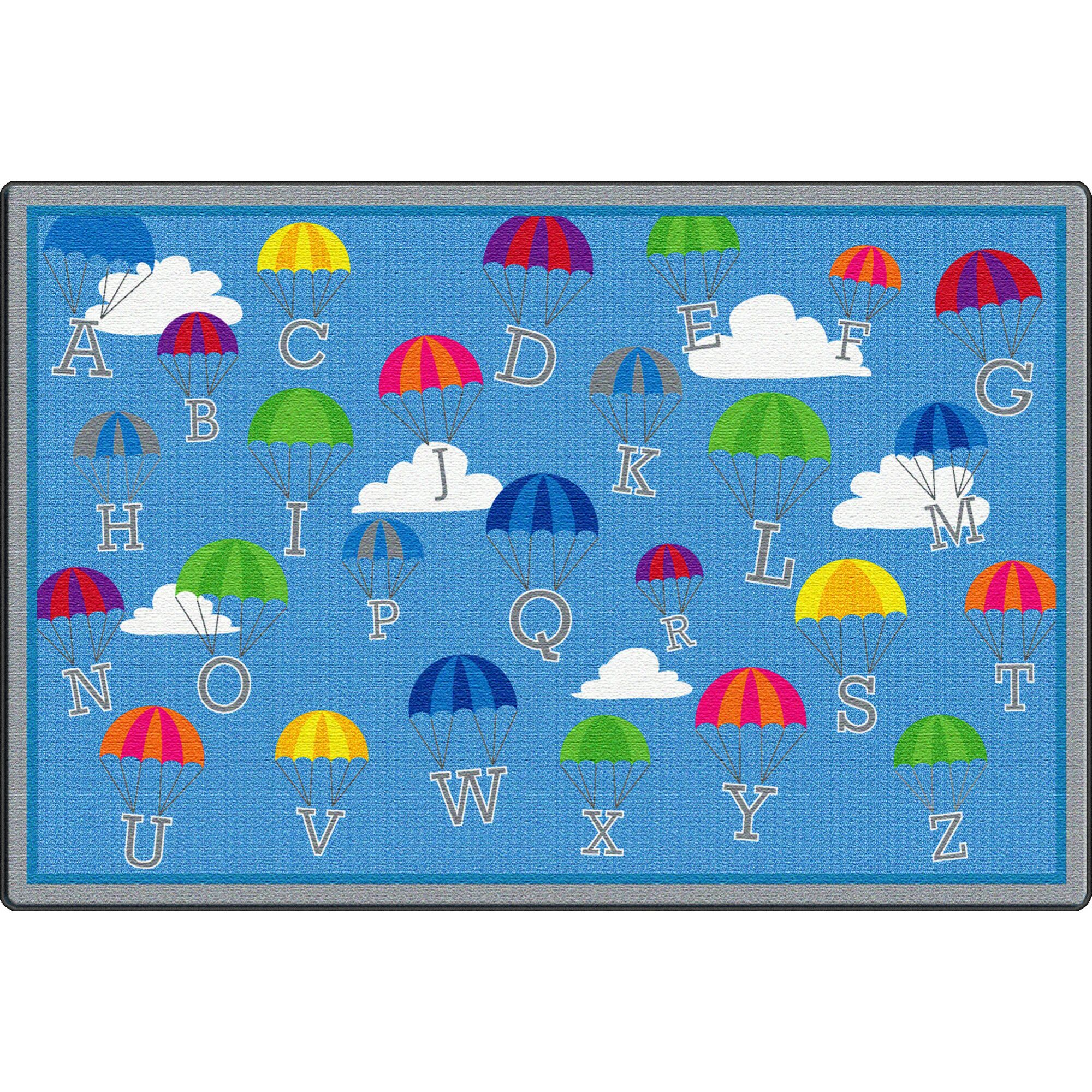P Is for Parachute Blue Area Rug Rug Size: Rectangle 6' x 9'