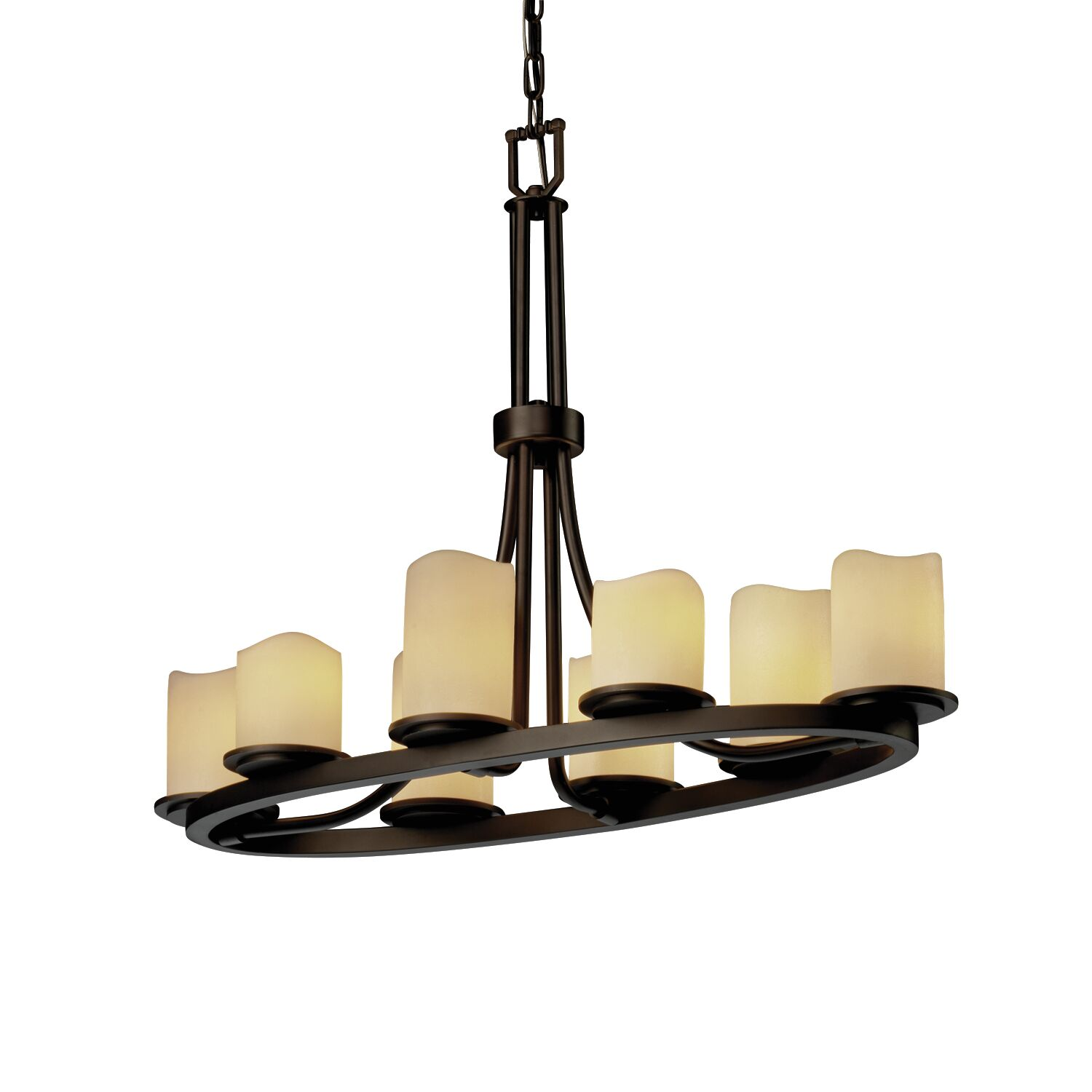 Phaedra 8-Light Oval Kitchen Island Pendant Shade Option: Cylinder with Melted Rim, Shade Color: Cream, Metal Finish: Matte Black