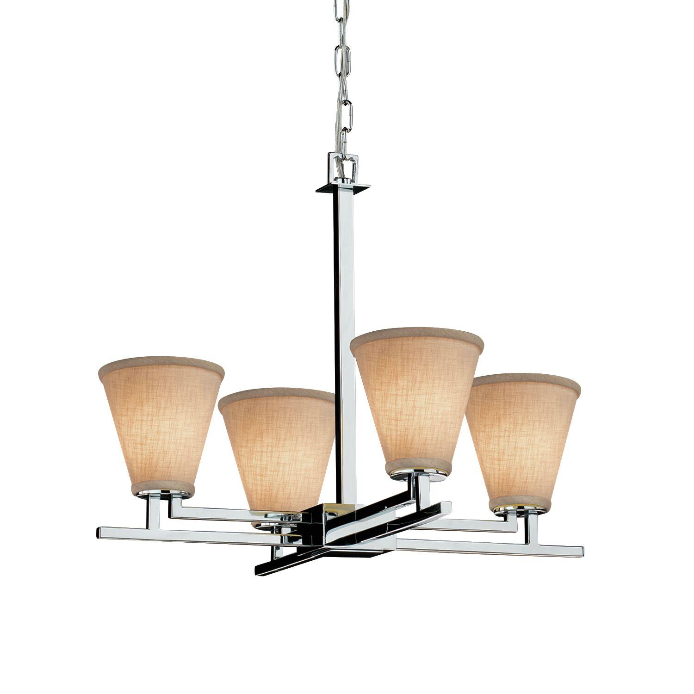 Red Hook 4 Light LED Cylinder w/ Flat Rim Chandelier Shade Color: Cream, Finish: Matte Black