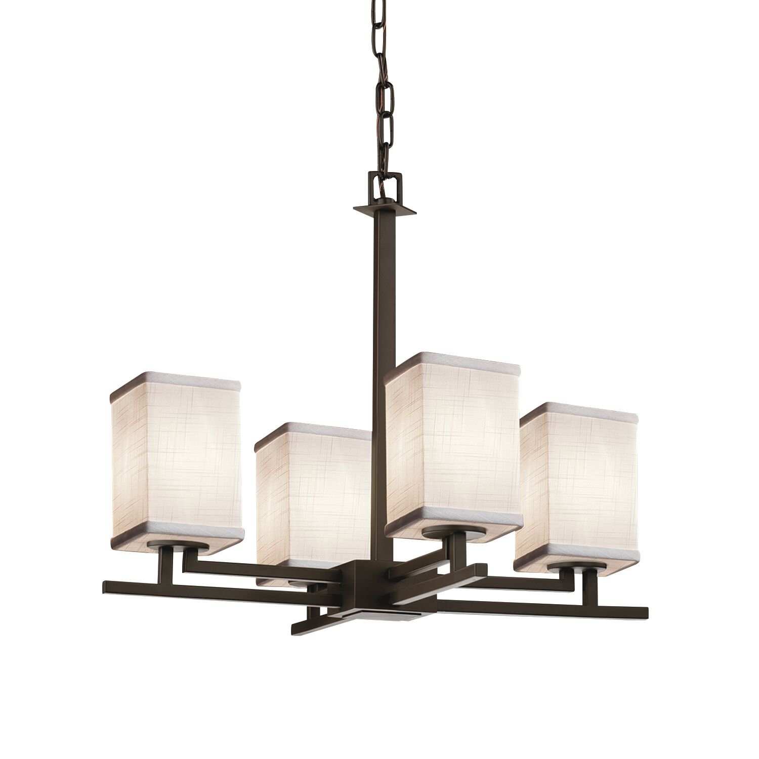 Red Hook 4 Light LED Square w/ Flat Rim Chain Chandelier Finish: Brushed Nickel, Shade Color: White