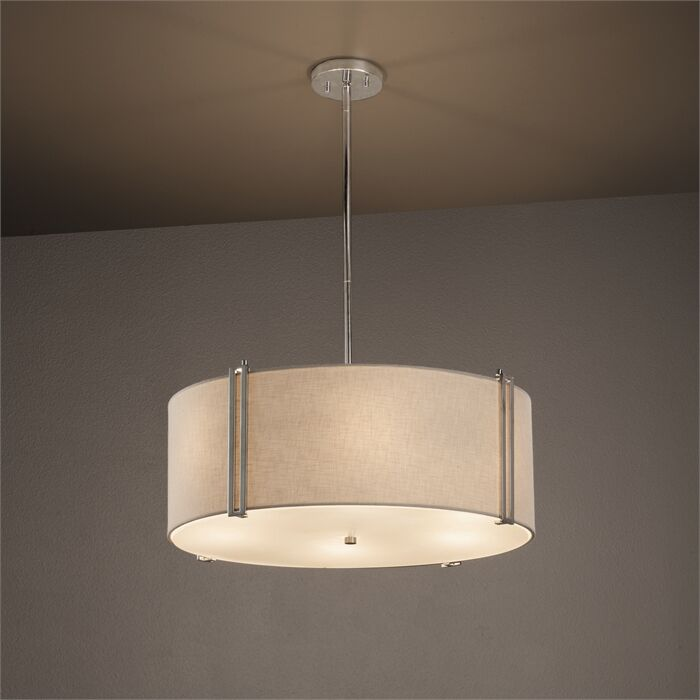 Red Hook 6-Light Pendant Shade Color: Cream, Finish: Brushed Nickel