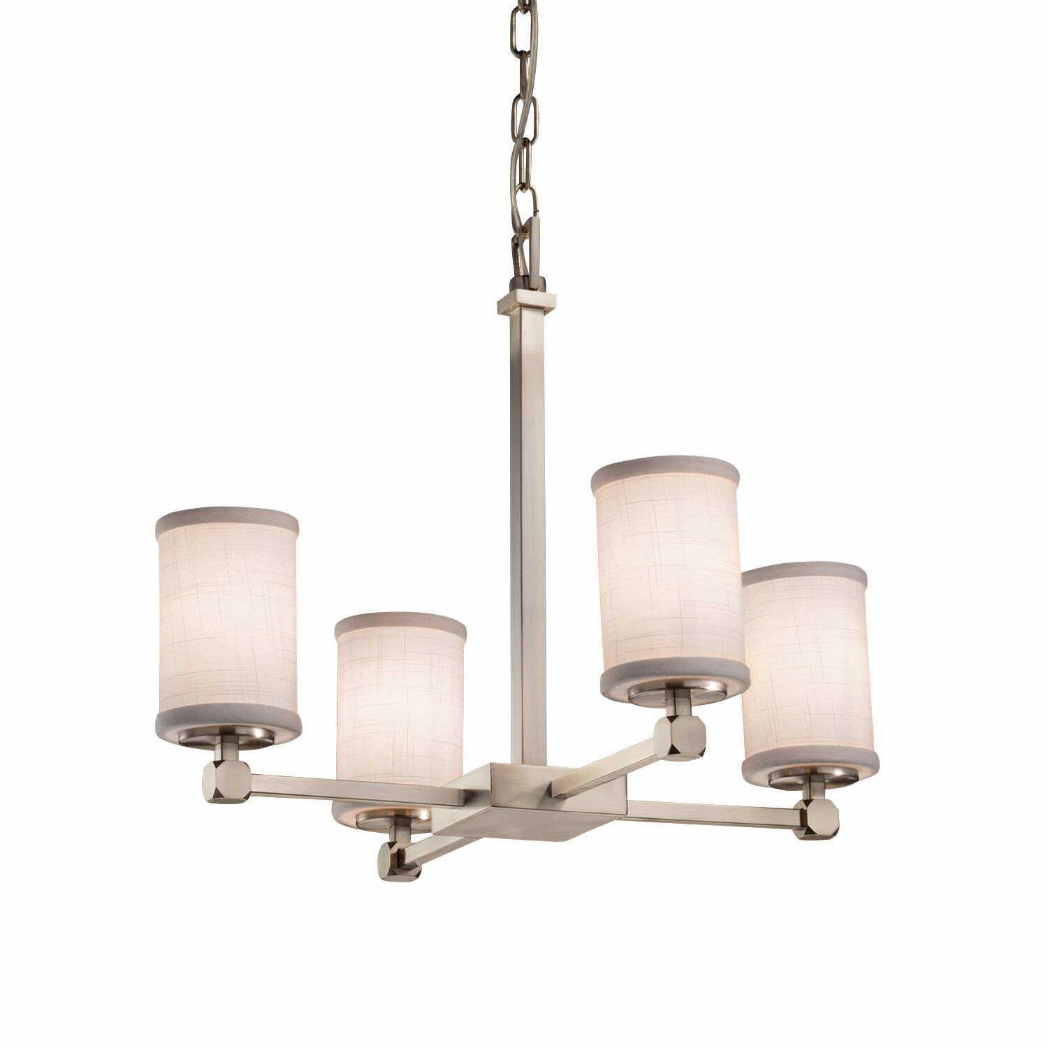 Red Hook 4 Light Cylinder w/ Flat Rim Shaded Chandelier Finish: Brushed Nickel, Shade Color: White