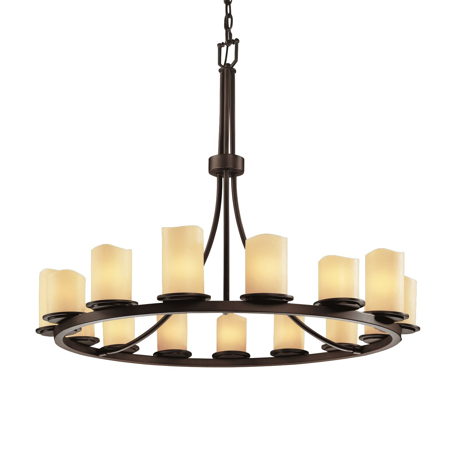 Soraya 15 Light Chandelier Shade Option: Cylinder with Melted Rim, Shade Color: Amber, Metal Finish: Matte Black