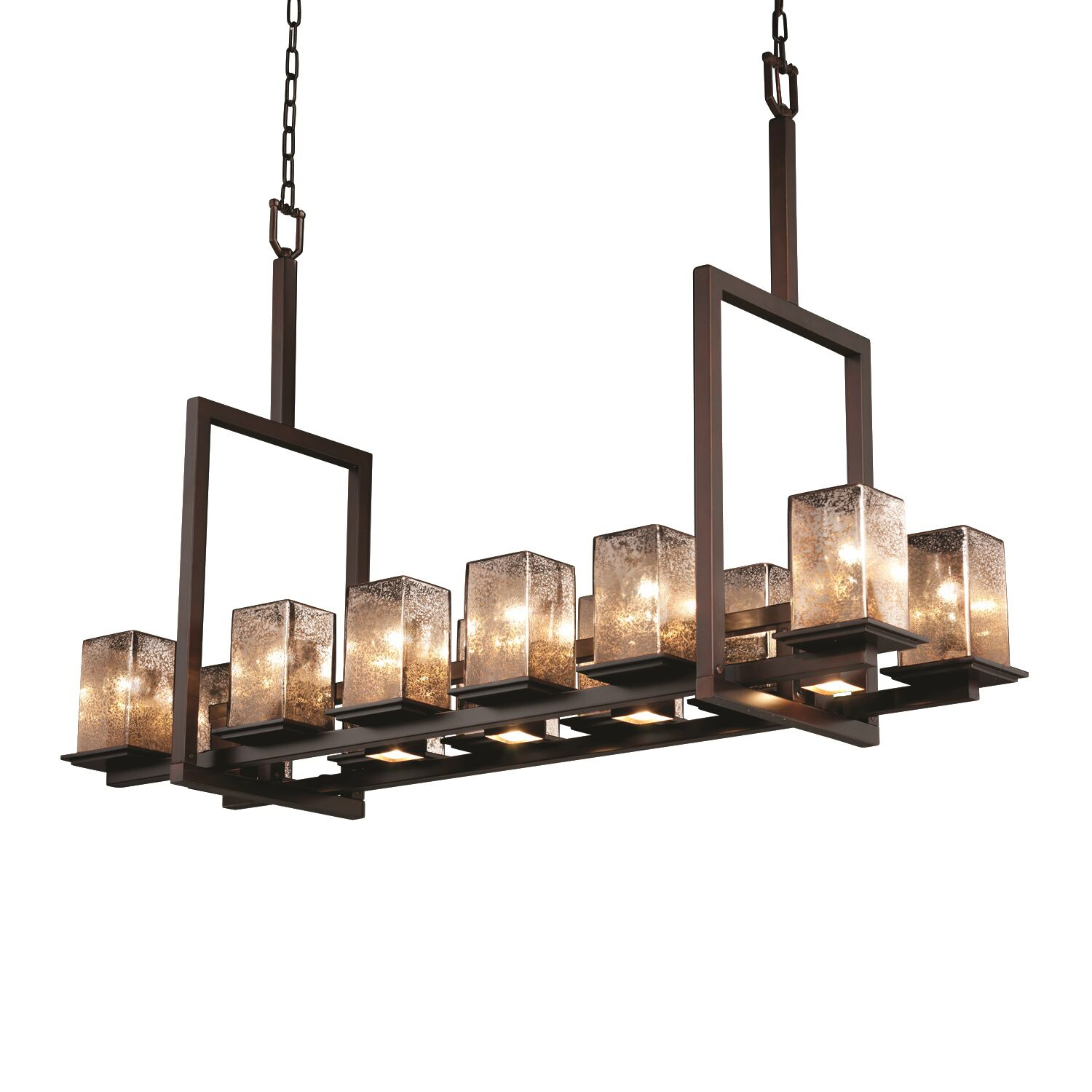 Montana Fusion 12-Up and 5-Down Light Tall Bridge Chandelier Metal Finish: Matte Black, Shade Color: Mercury