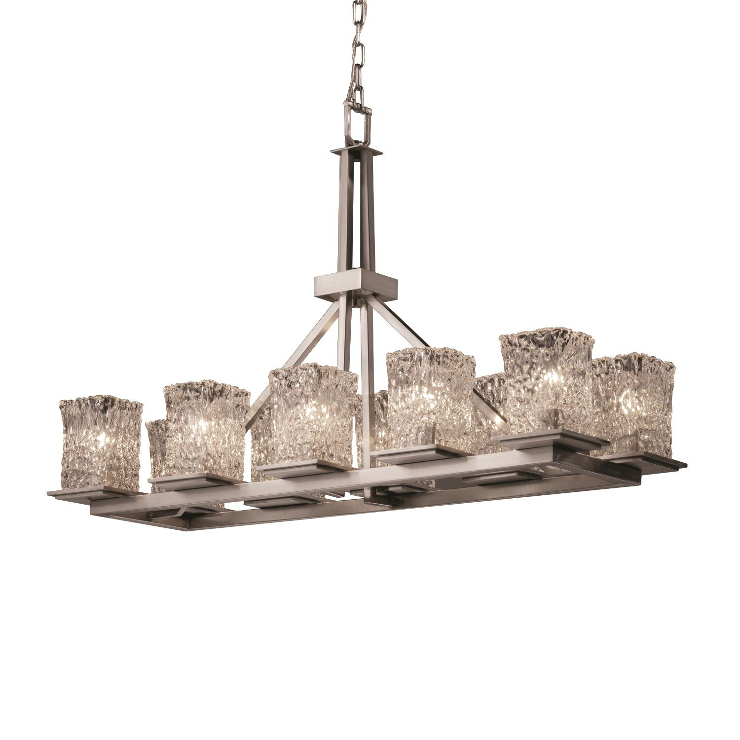 Syed 10-Light Kitchen Island Pendant Shade Color: Clear Textured, Finish: Nickel