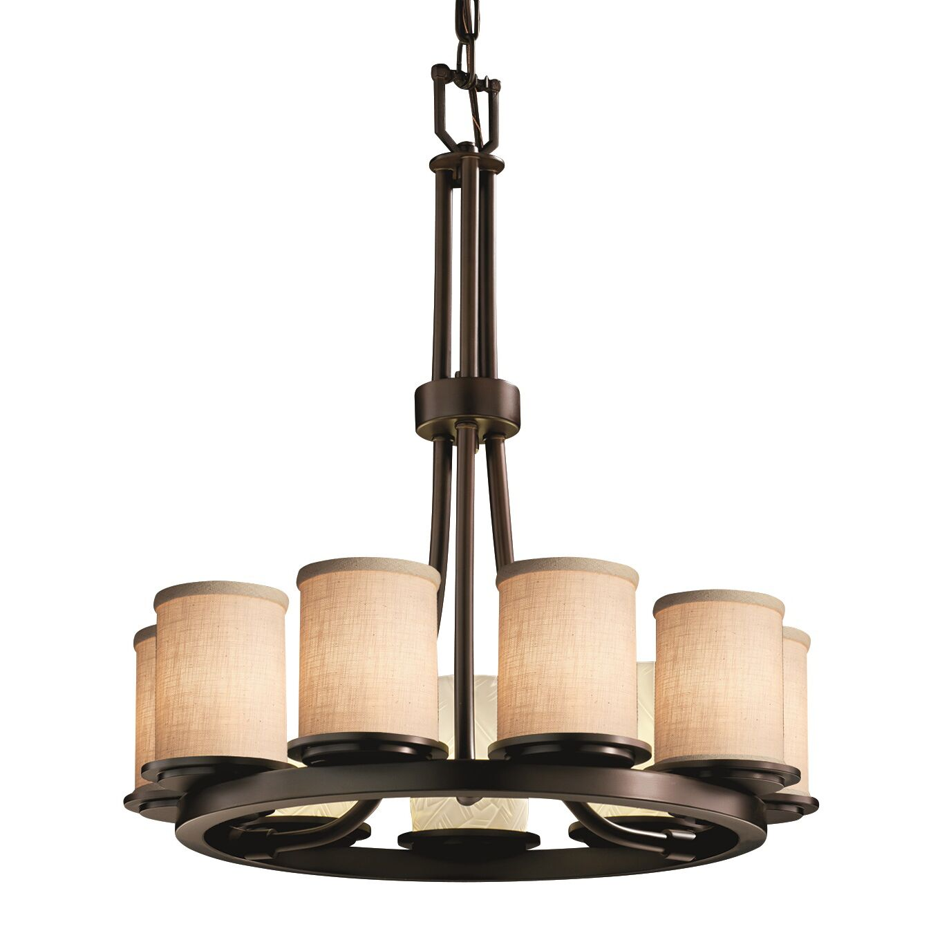 Red Hook 9 Light Cylinder w/ Flat Rim Chandelier Finish: Dark Bronze, Shade Color: Cream