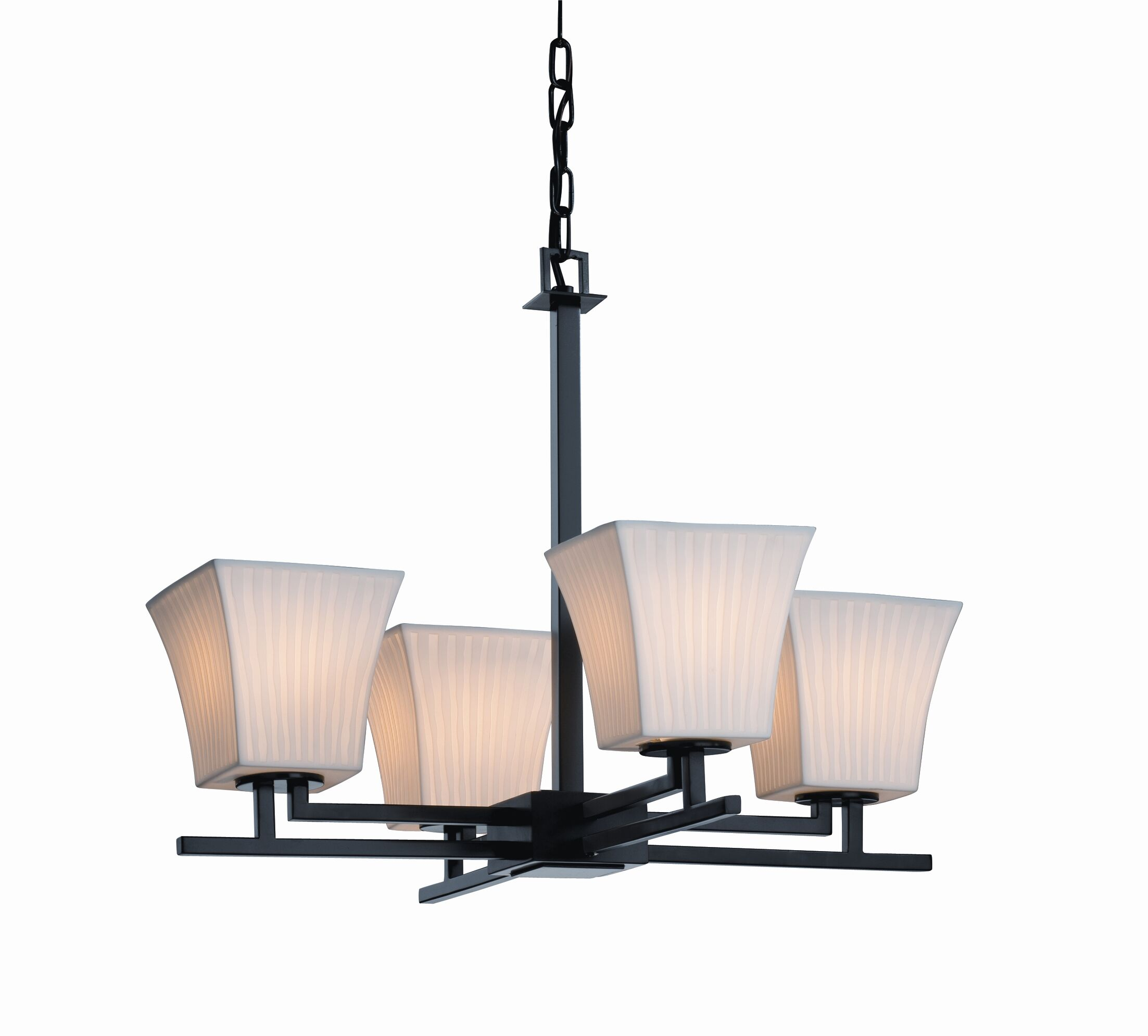 Biston 4 Light Chandelier Shade Option: Tall Tapered Cylinder, Metal Finish: Matte Black
