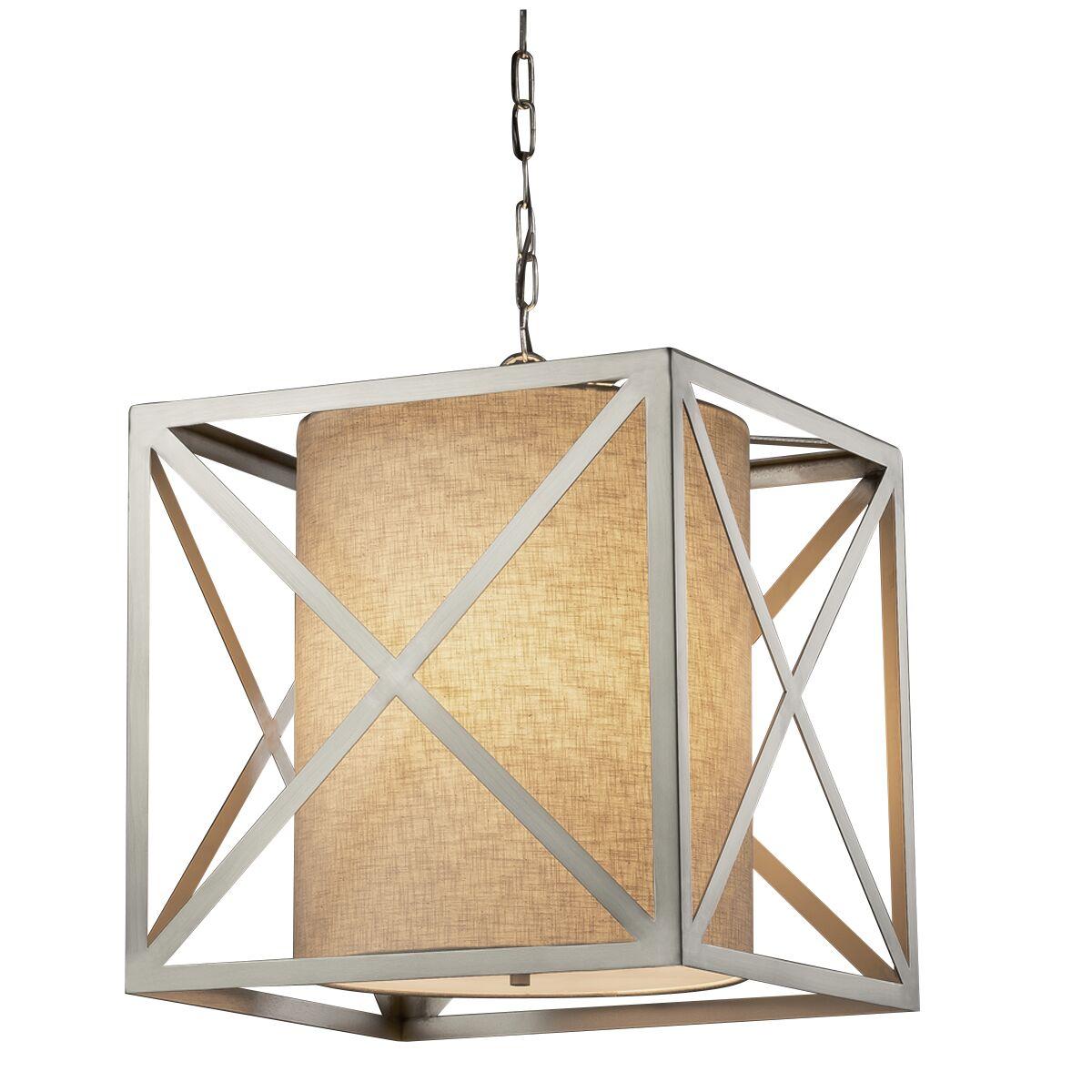 Kenyon 4-Light Square/Rectangle Chandelier Shade Color: Cream, Base Finish: Brushed Nickel