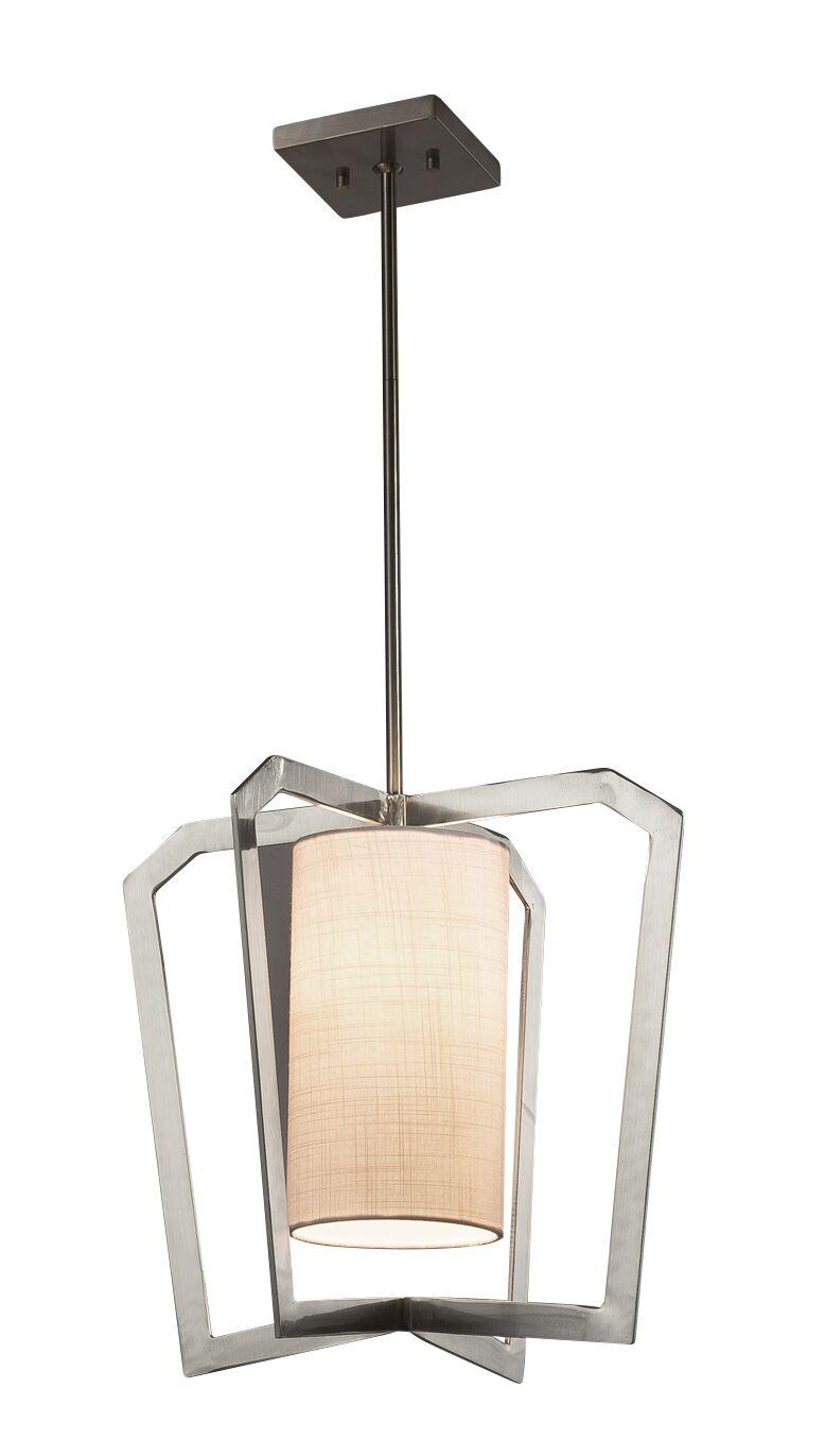 Kenyon 1-Light Foyer Pendant Shade Color: Cream, Base Finish: Dark Bronze