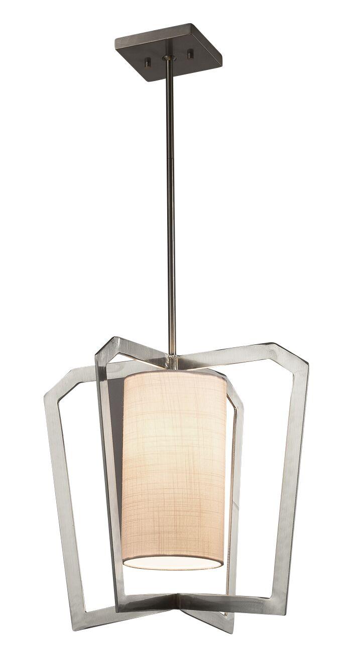 Kenyon 1-Light Foyer Pendant Shade Color: Cream, Base Finish: Brushed Nickel