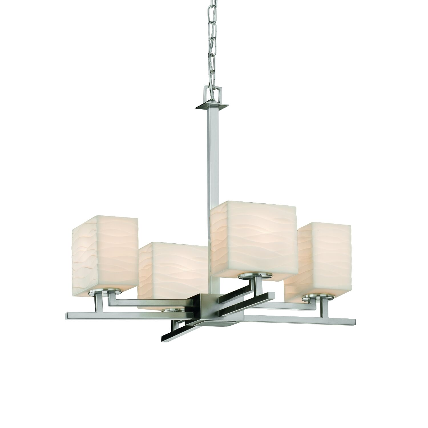 Wiedman 4-Light Shaded Chandelier Finish: Dark Bronze, Shade Pattern: Waterfall