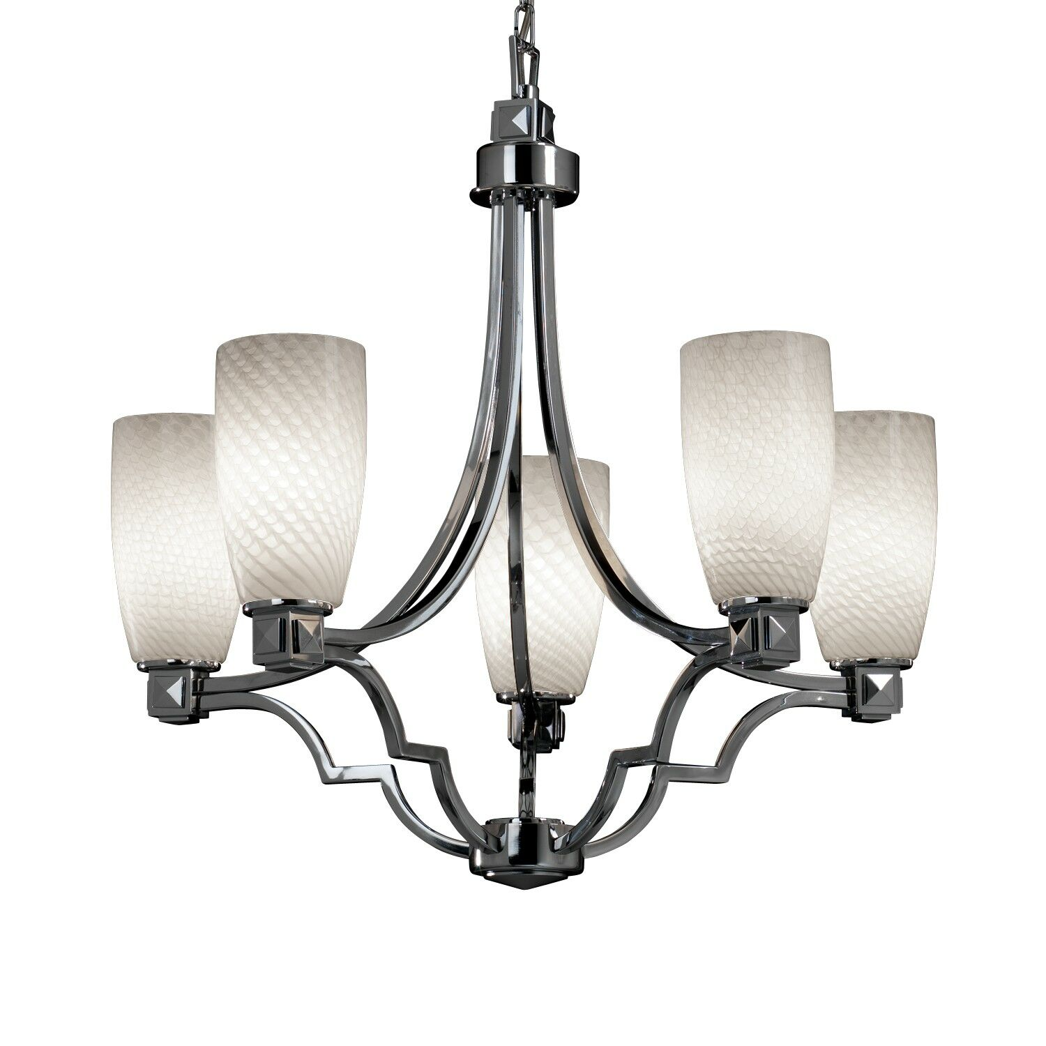 Luzerne 5-Light Shaded Chandelier Shade Color: Droplet, Finish: Brushed Nickel