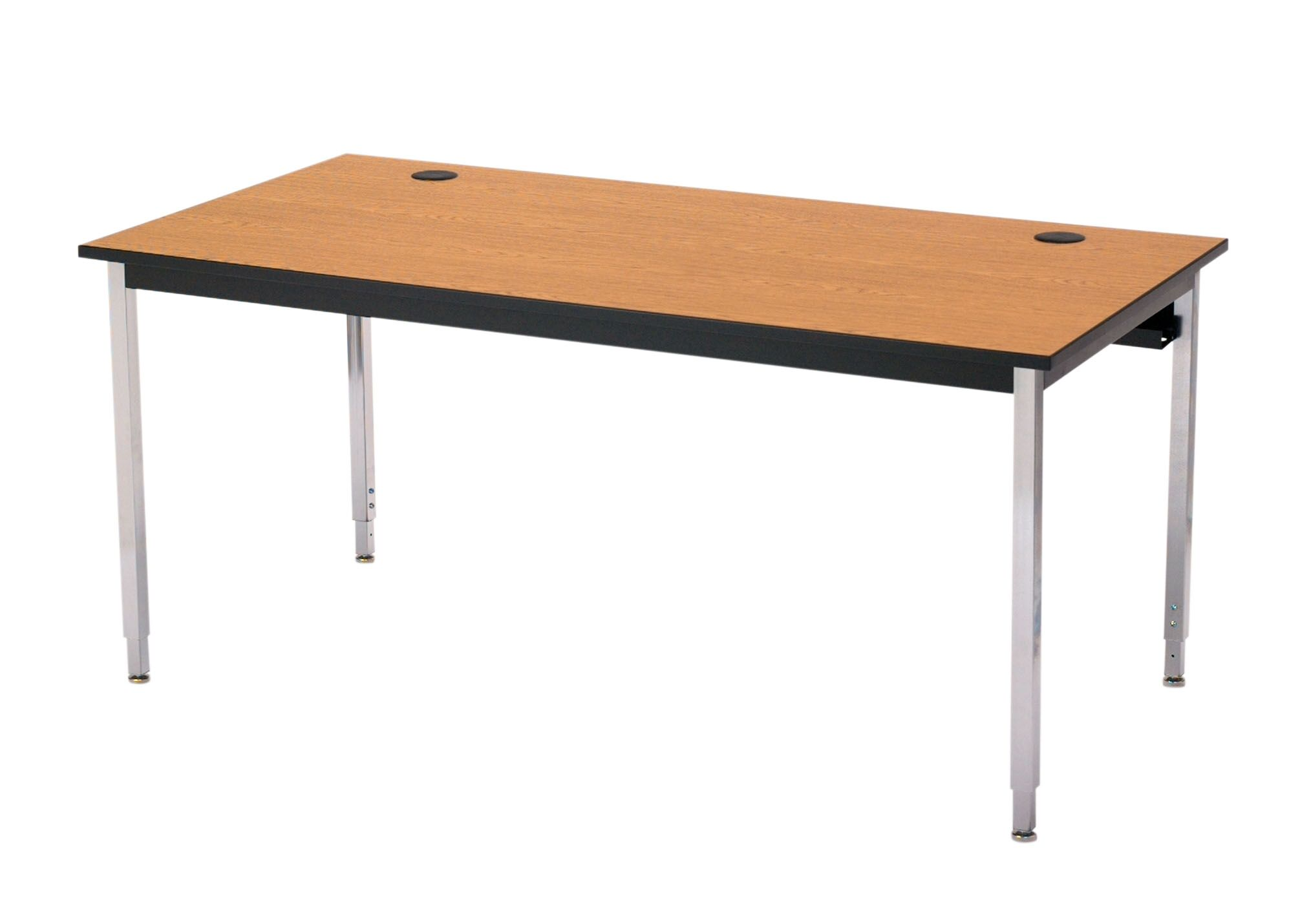 1500 Series Computer Table with Cable Management Base Finish: Black, Tabletop Finish: Bannister Oak, Size: 48