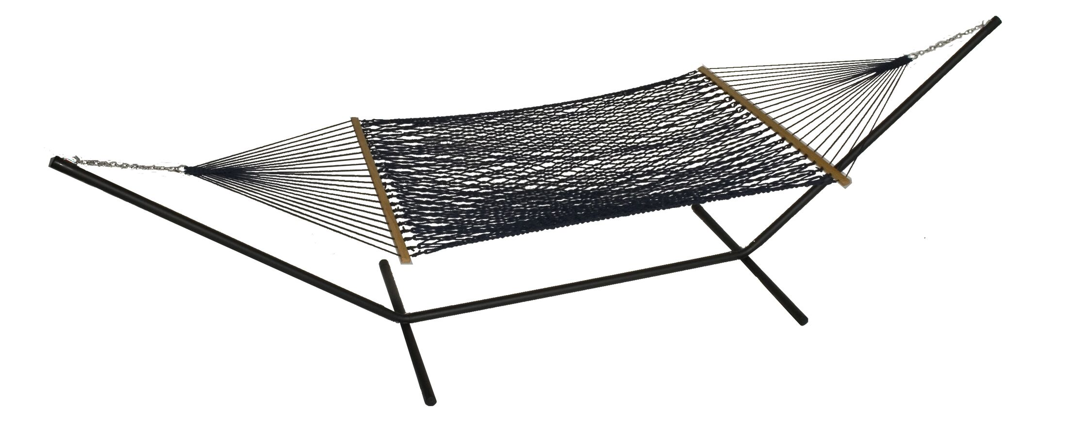 Mindi Solid Polyester Hammock with Stand Color: Navy